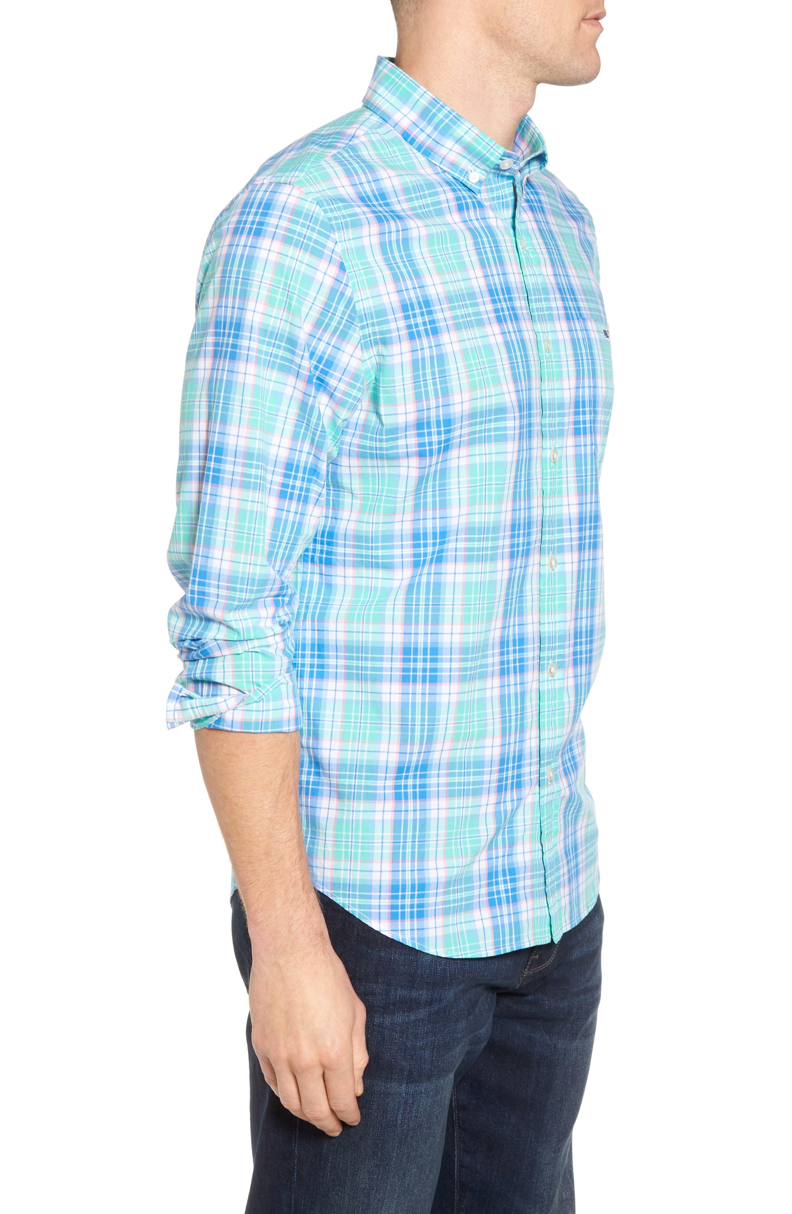 Sutherland Road Slim Fit Plaid Sport Shirt,                             Alternate thumbnail 3, color,                             359