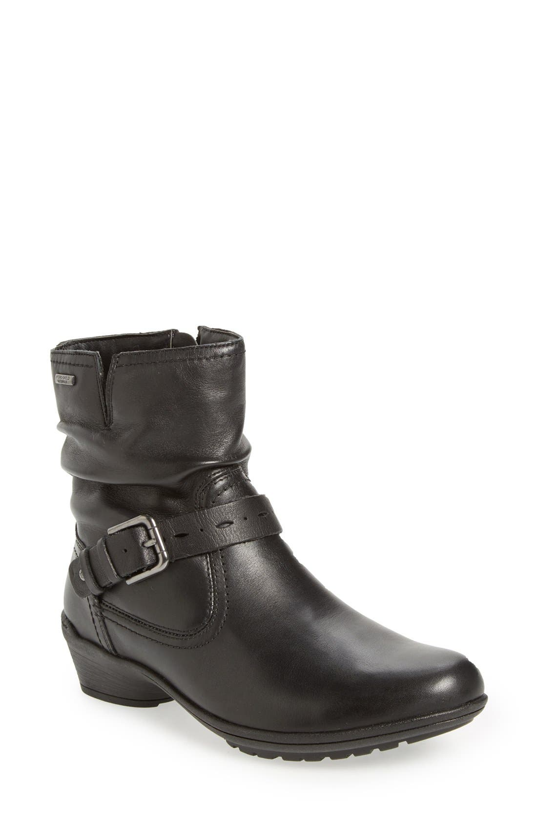 'Riley' Waterproof Buckle Strap Bootie,                             Main thumbnail 1, color,                             BLACK LEATHER