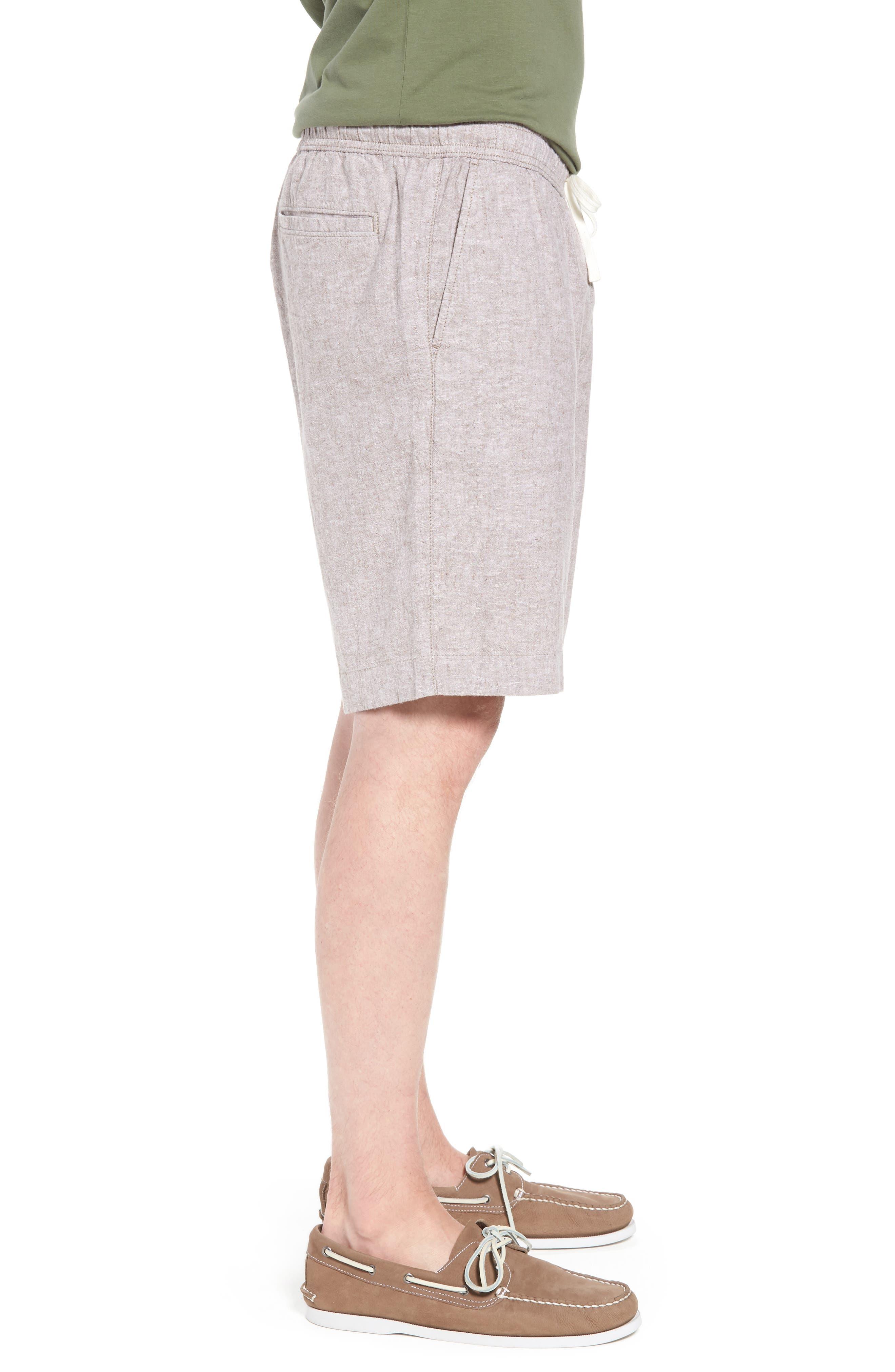 Drawstring Linen Blend Shorts,                             Alternate thumbnail 3, color,                             235
