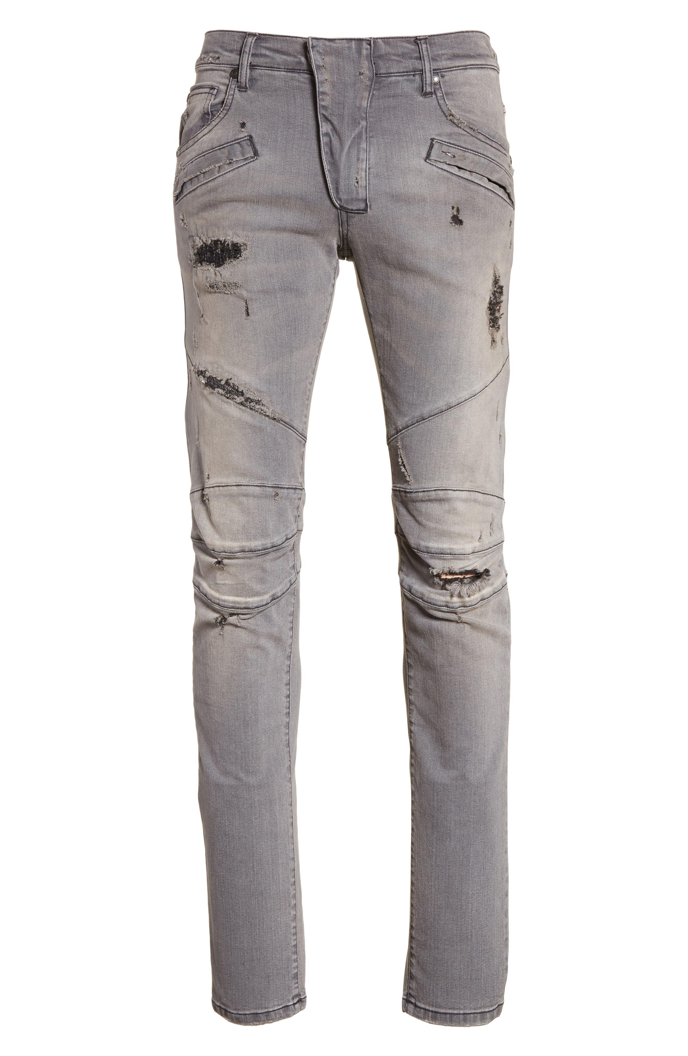 Distressed Moto Jeans,                             Alternate thumbnail 6, color,