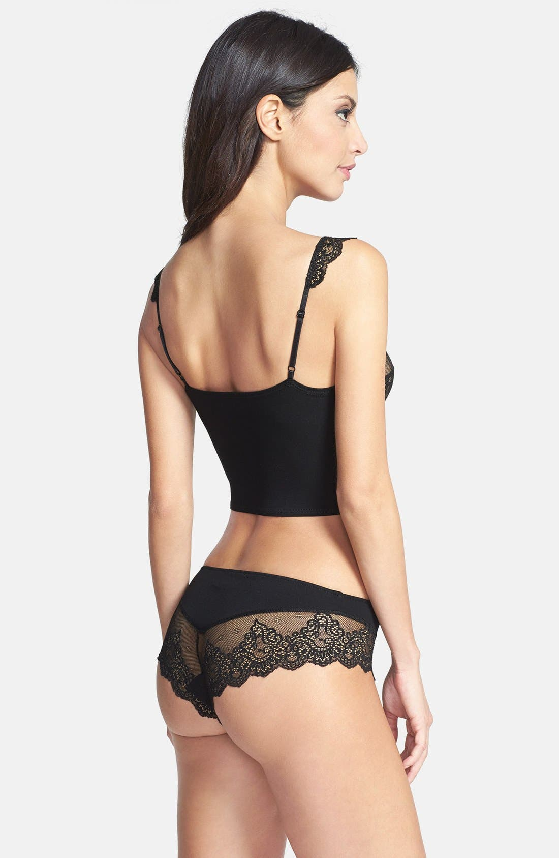 'So Fine' Cropped Lace Camisole,                             Alternate thumbnail 4, color,                             001