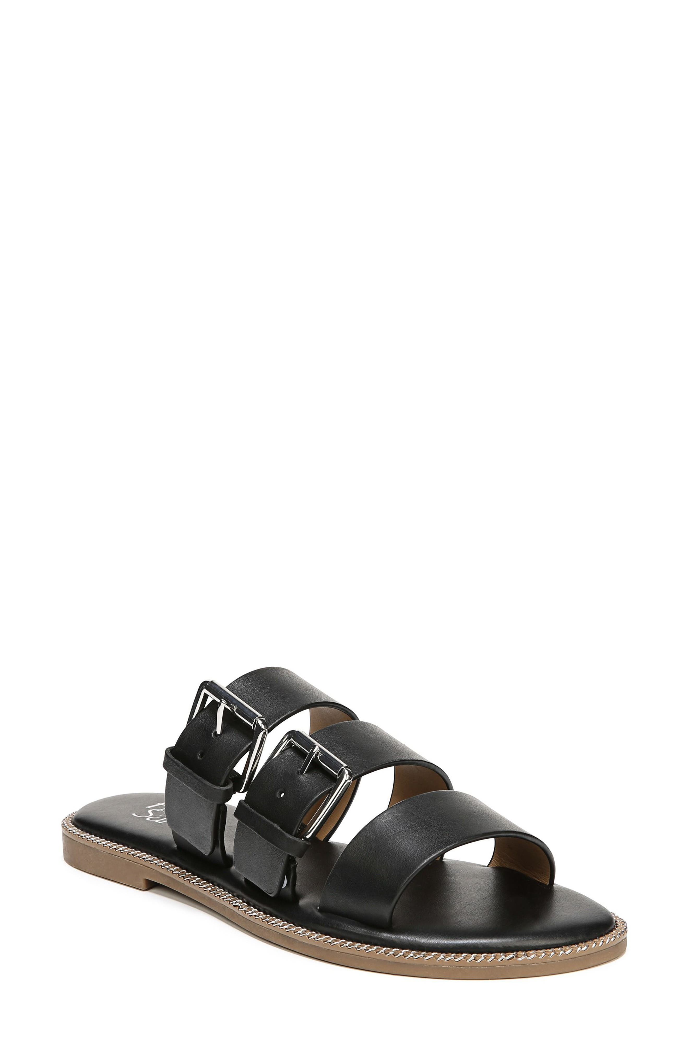 SARTO by Franco Sarto Kasa Three Strap Slide Sandal,                             Alternate thumbnail 8, color,                             BLACK LEATHER