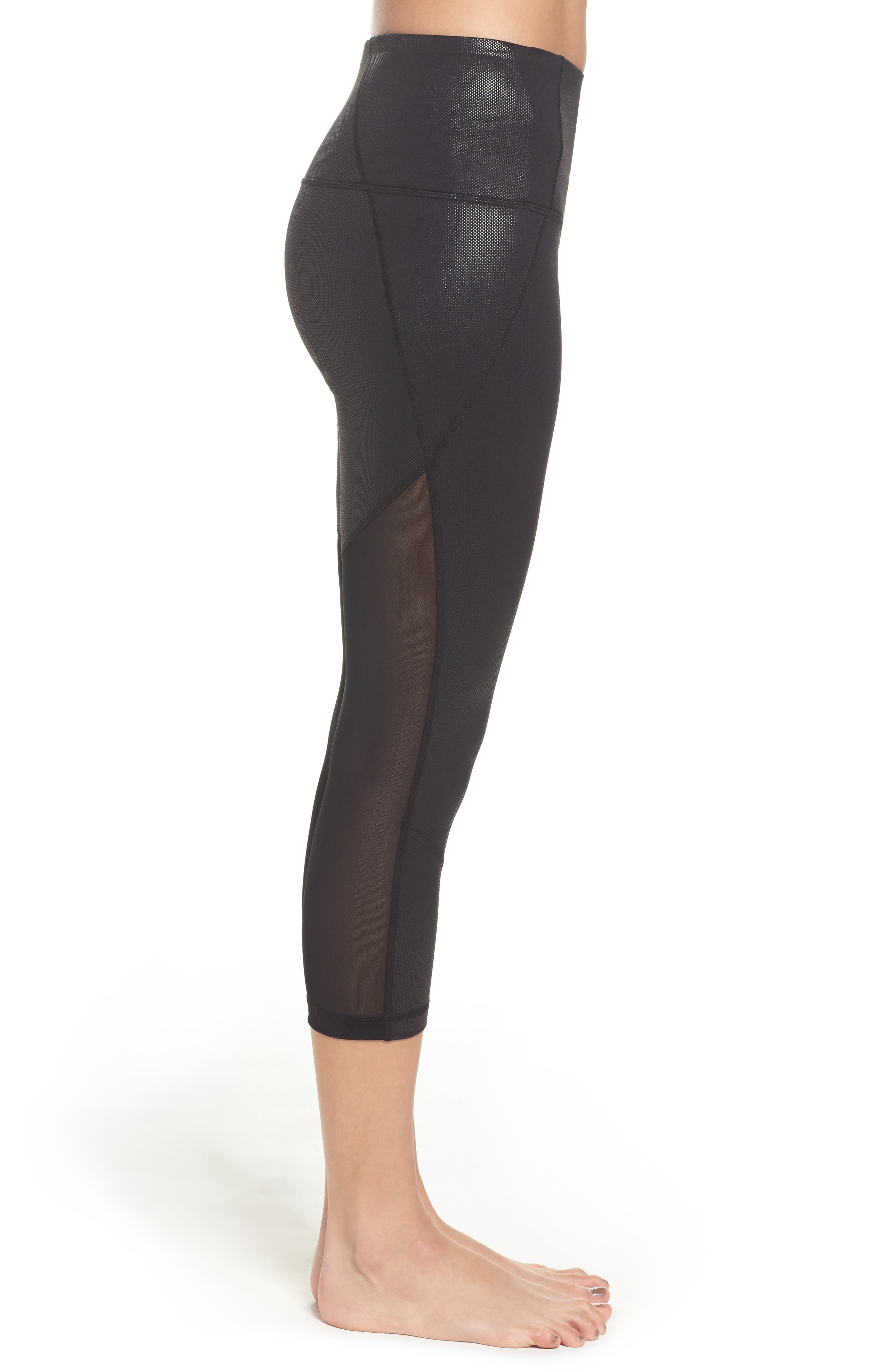 'Live In - Sultry' High Waist Mesh Crop Leggings,                             Alternate thumbnail 27, color,