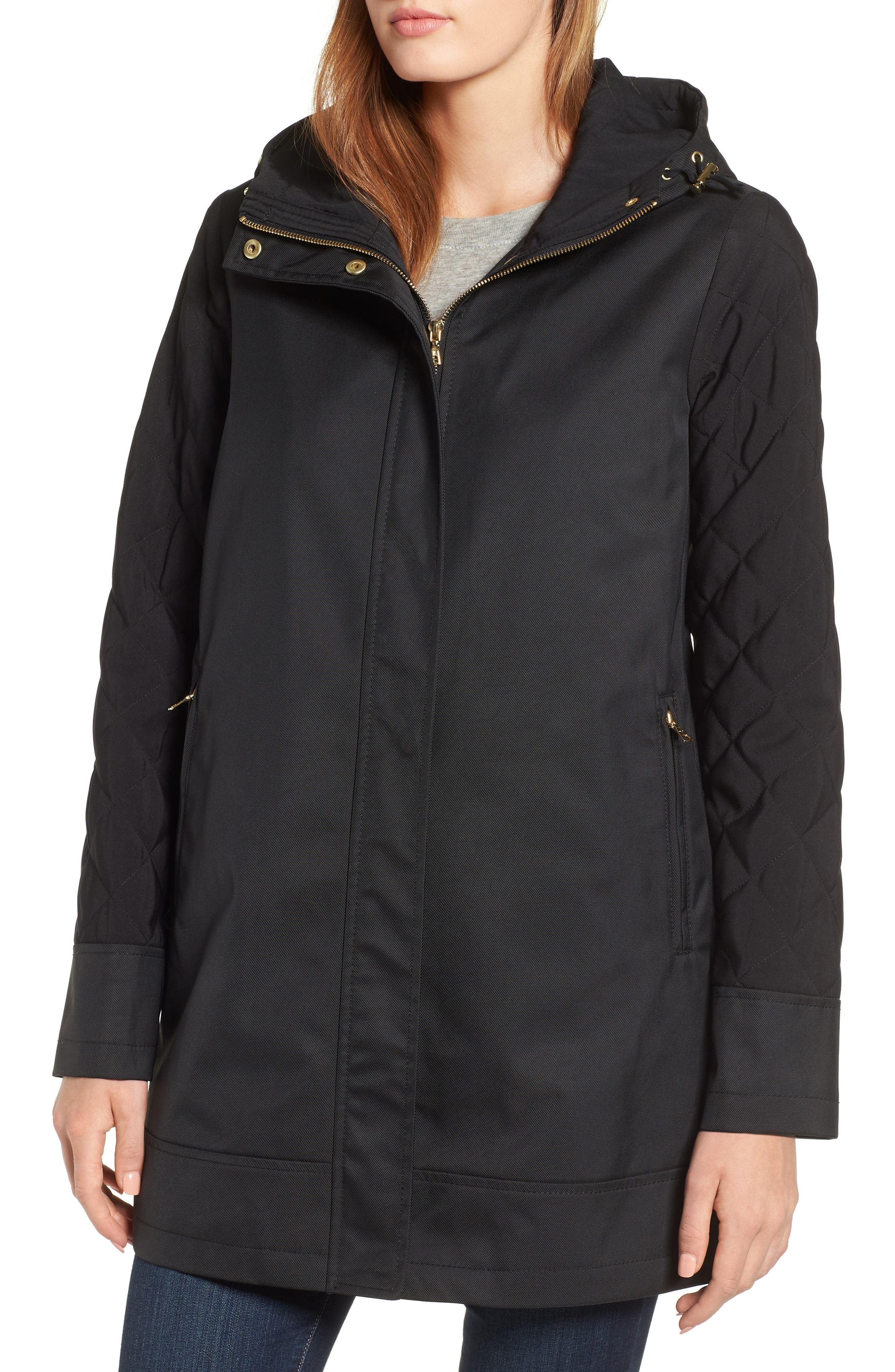 Hallie Quilted Sleeve Twill Parka,                             Alternate thumbnail 4, color,                             BLACK