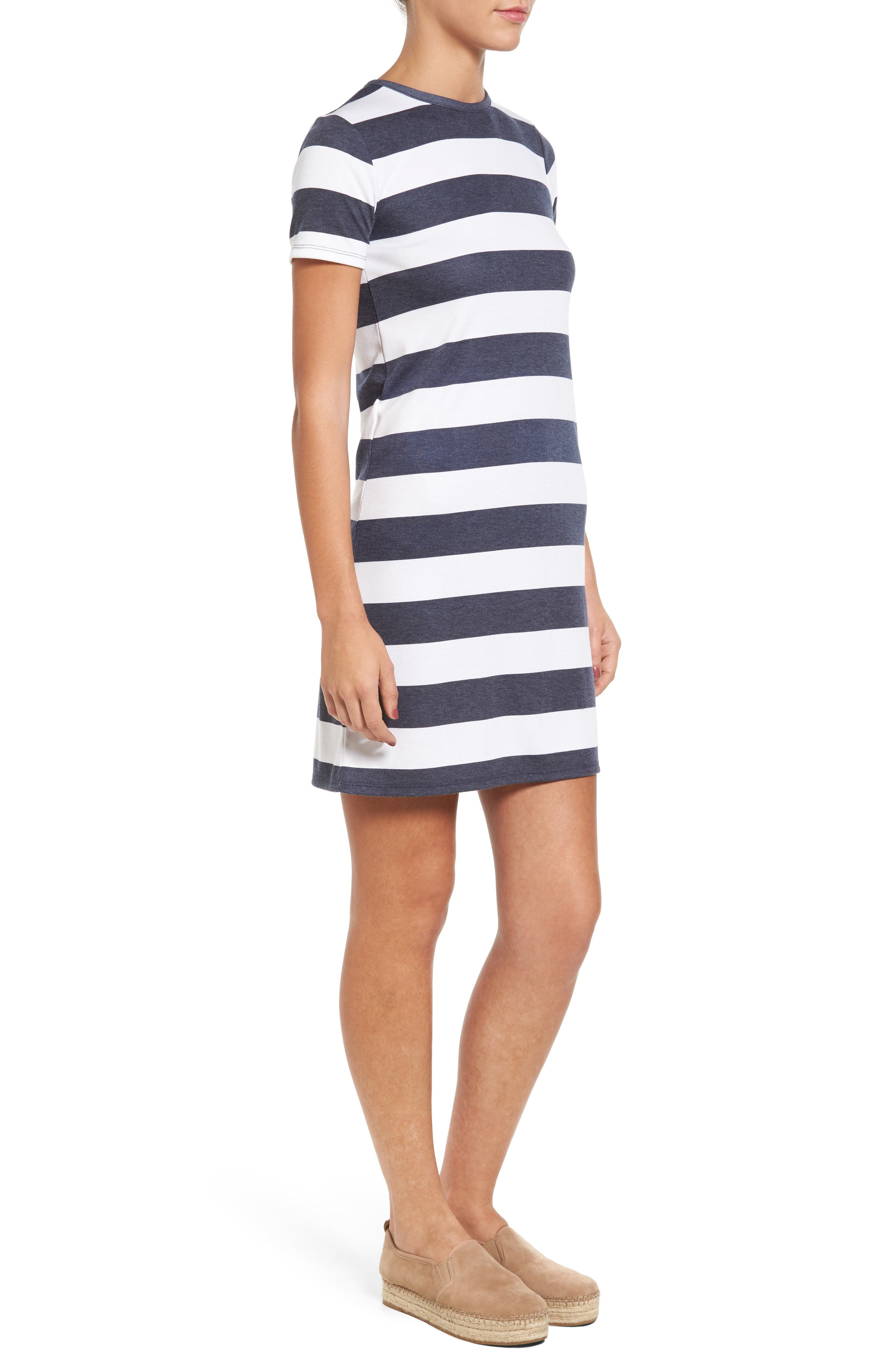 Rugby Stripe T-Shirt Dress,                             Alternate thumbnail 3, color,                             428