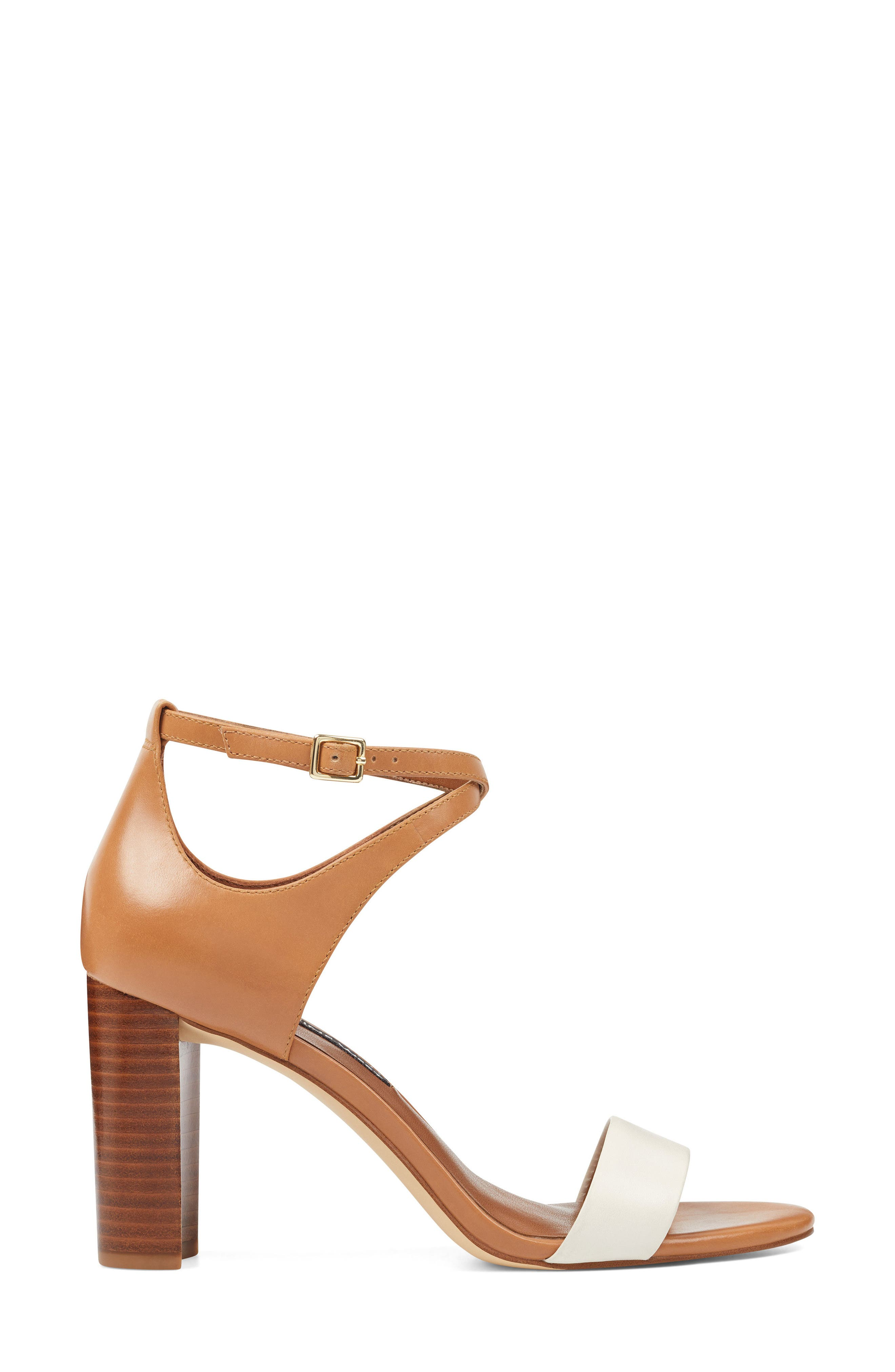 Nunzaya Ankle Strap Sandal,                             Alternate thumbnail 3, color,                             OFF WHITE/ NATURAL LEATHER