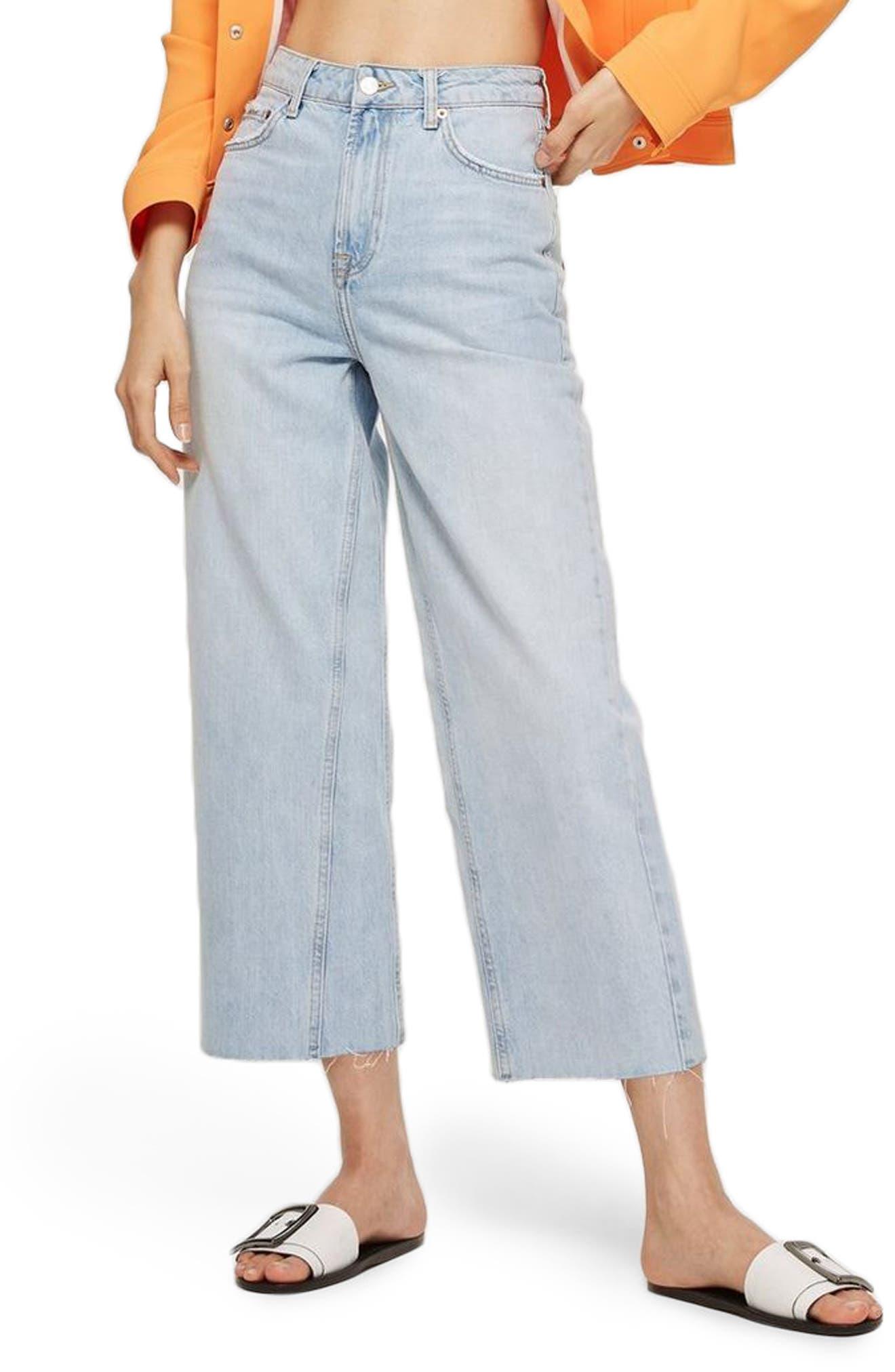 TOPSHOP,                             MOTO Wide Leg Crop Non-Stretch Jeans,                             Main thumbnail 1, color,                             450