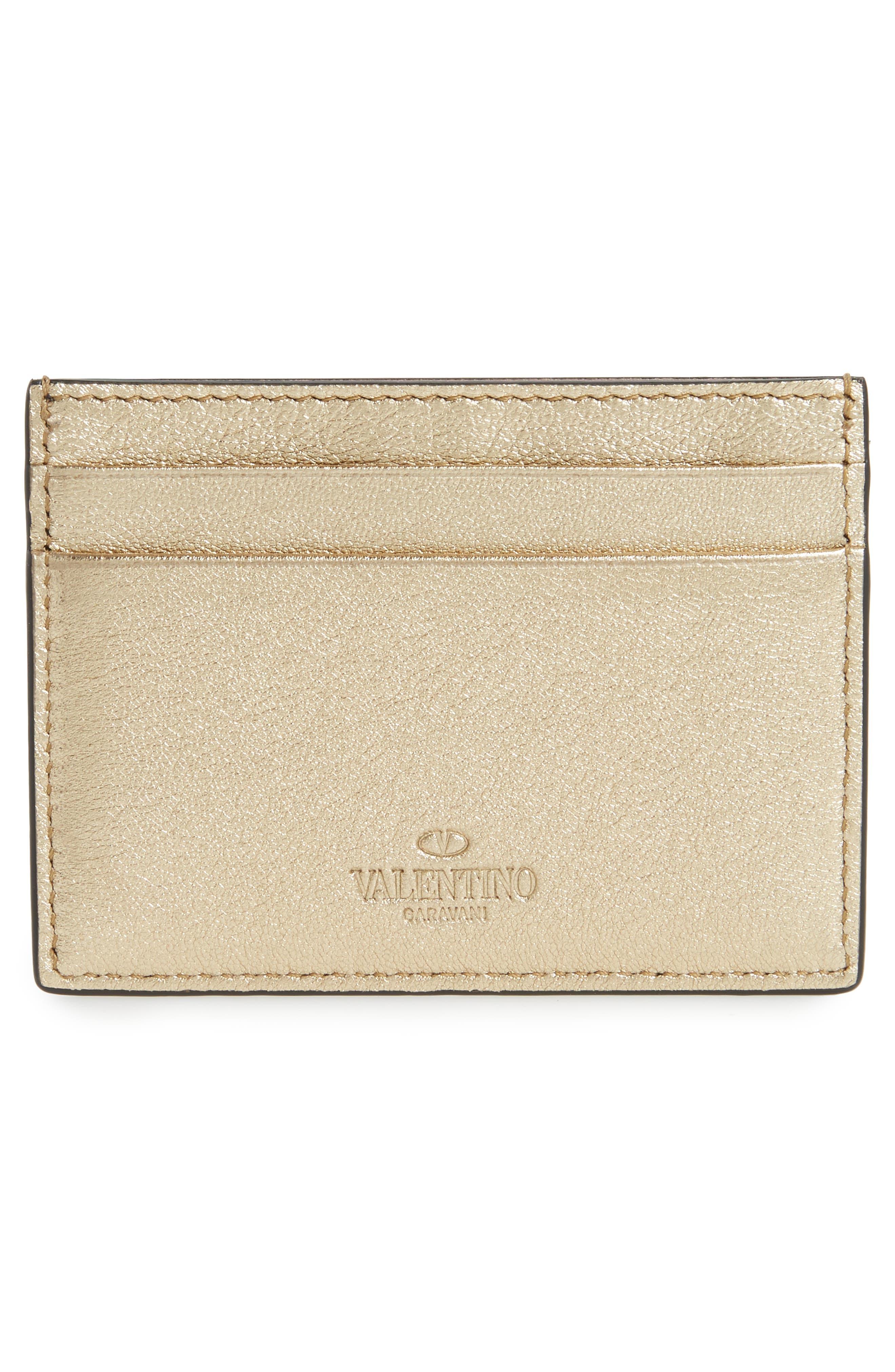 Rockstud Leather Card Case,                             Alternate thumbnail 2, color,                             710