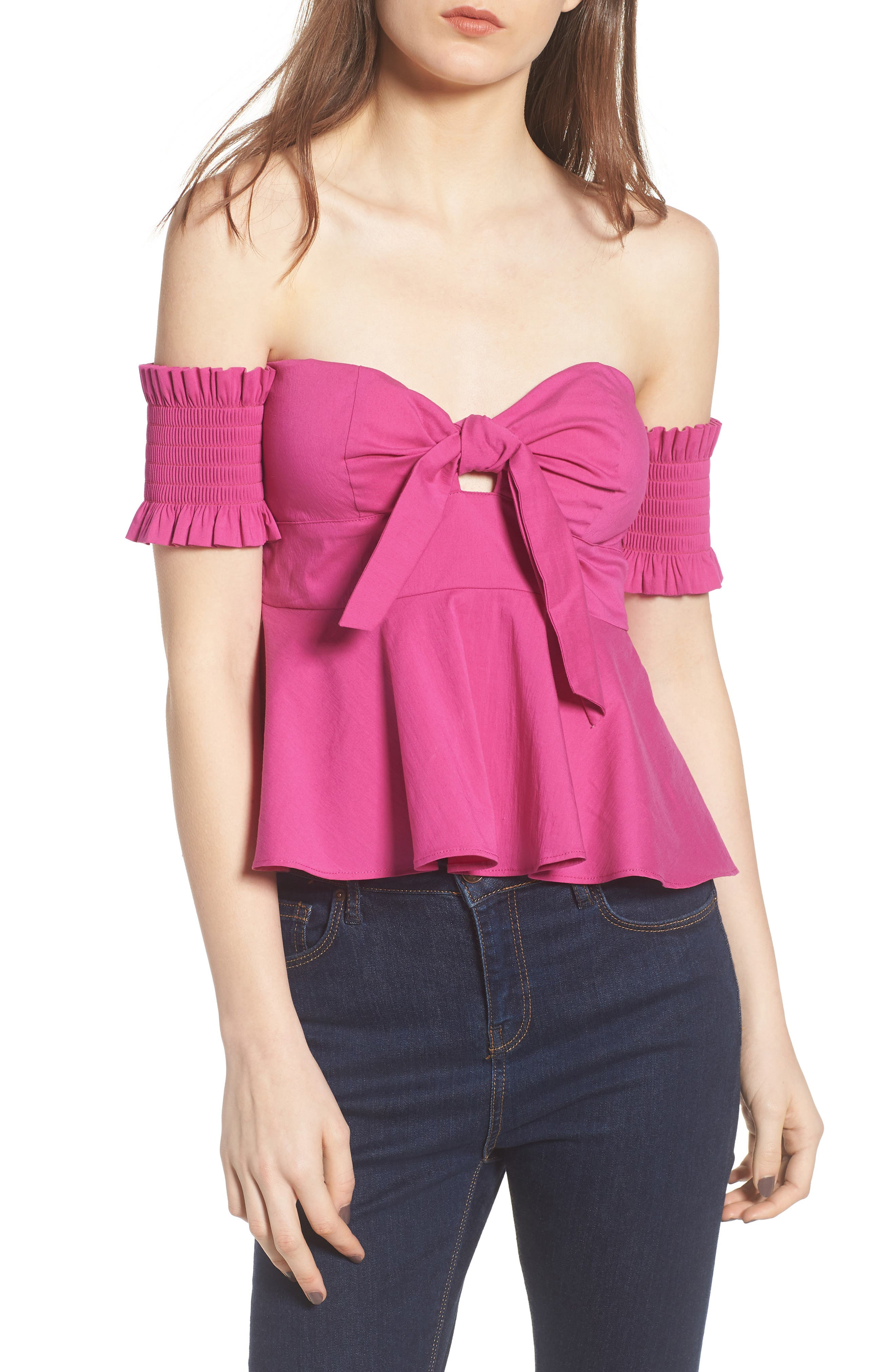 Smocked Off the Shoulder Top,                         Main,                         color,