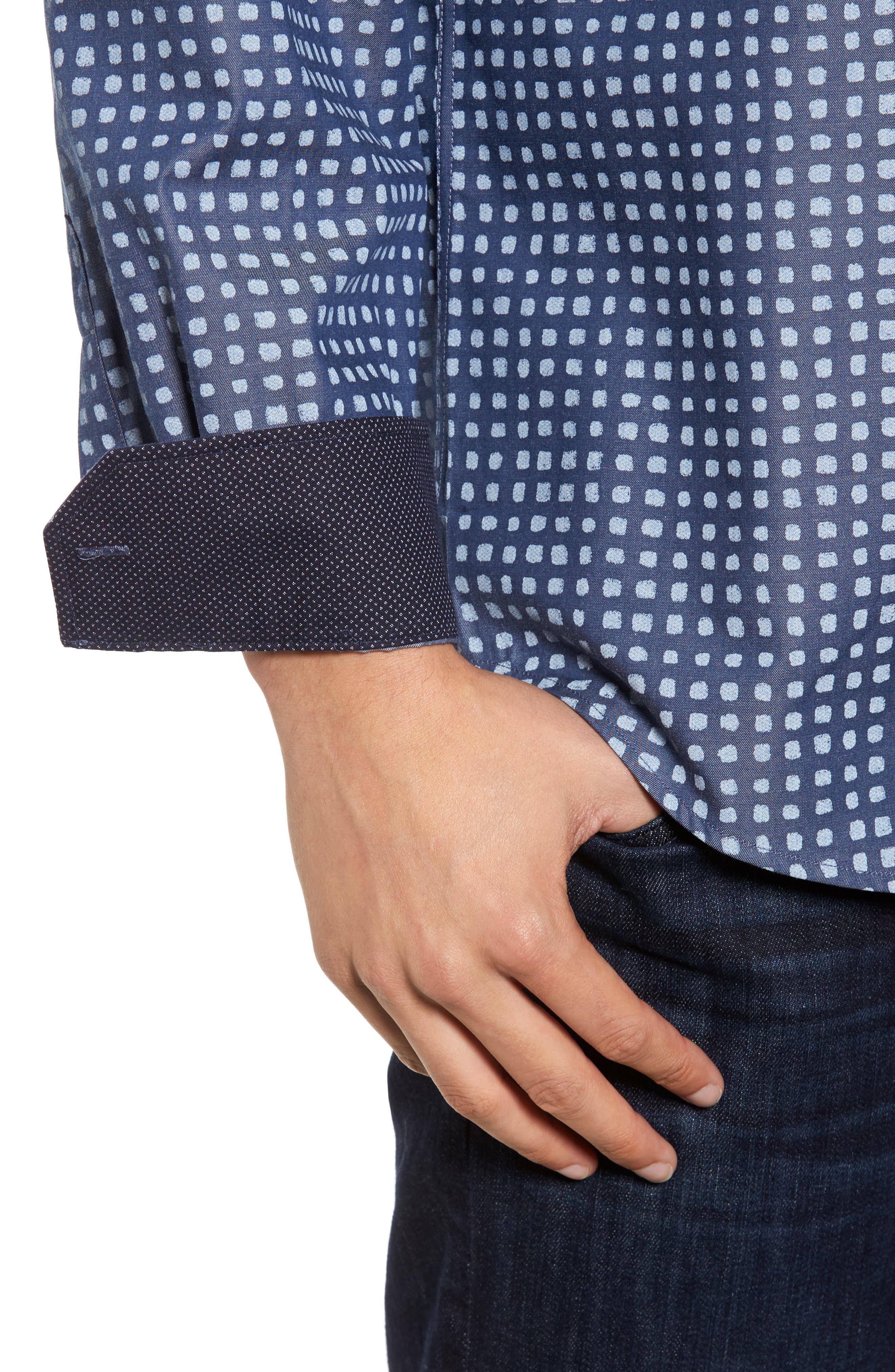 Classic Fit Dot Print Sport Shirt,                             Alternate thumbnail 4, color,                             411
