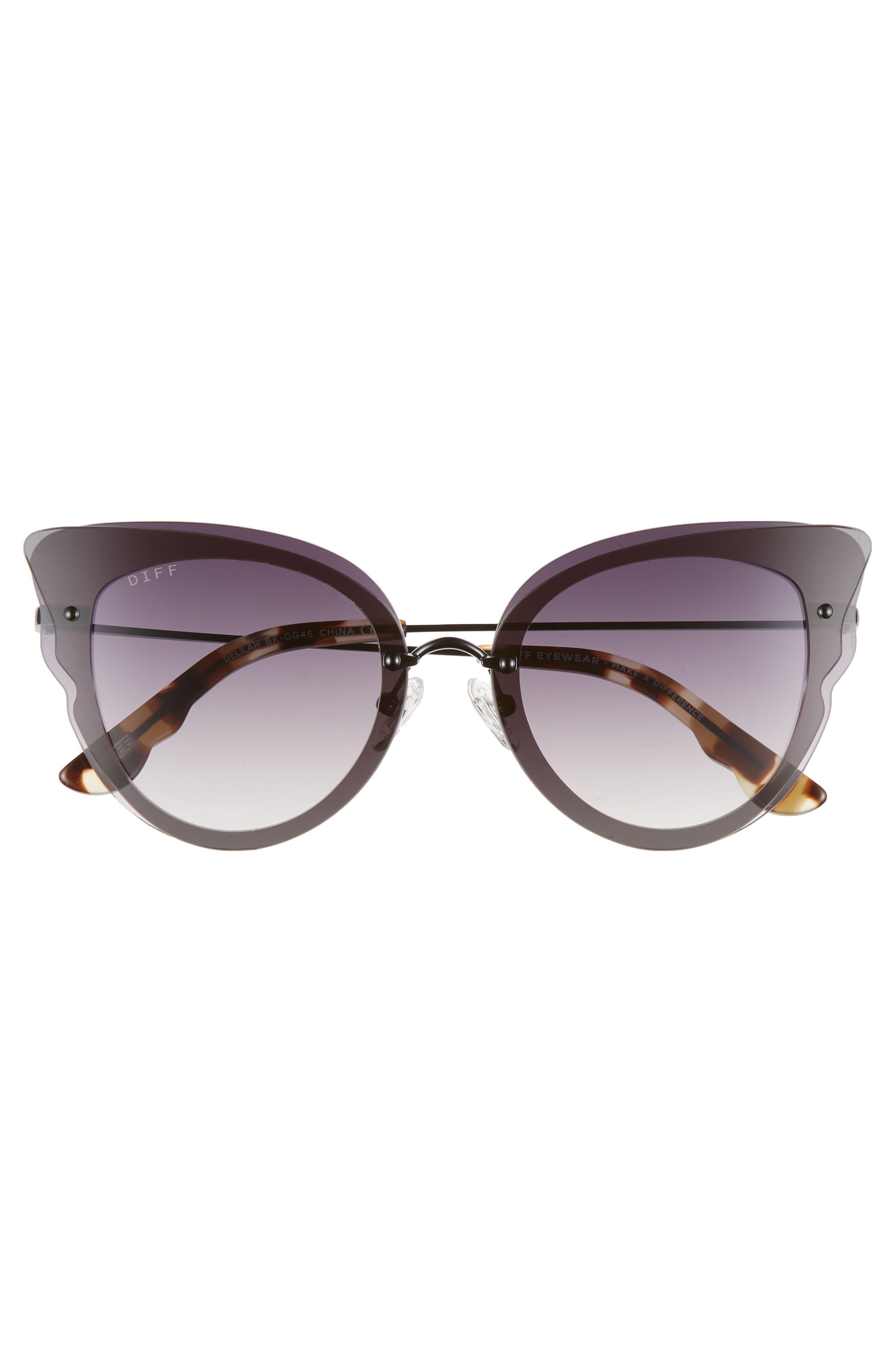 Delilah 49mm Cat Eye Sunglasses,                             Alternate thumbnail 3, color,                             BLACK/ GREY