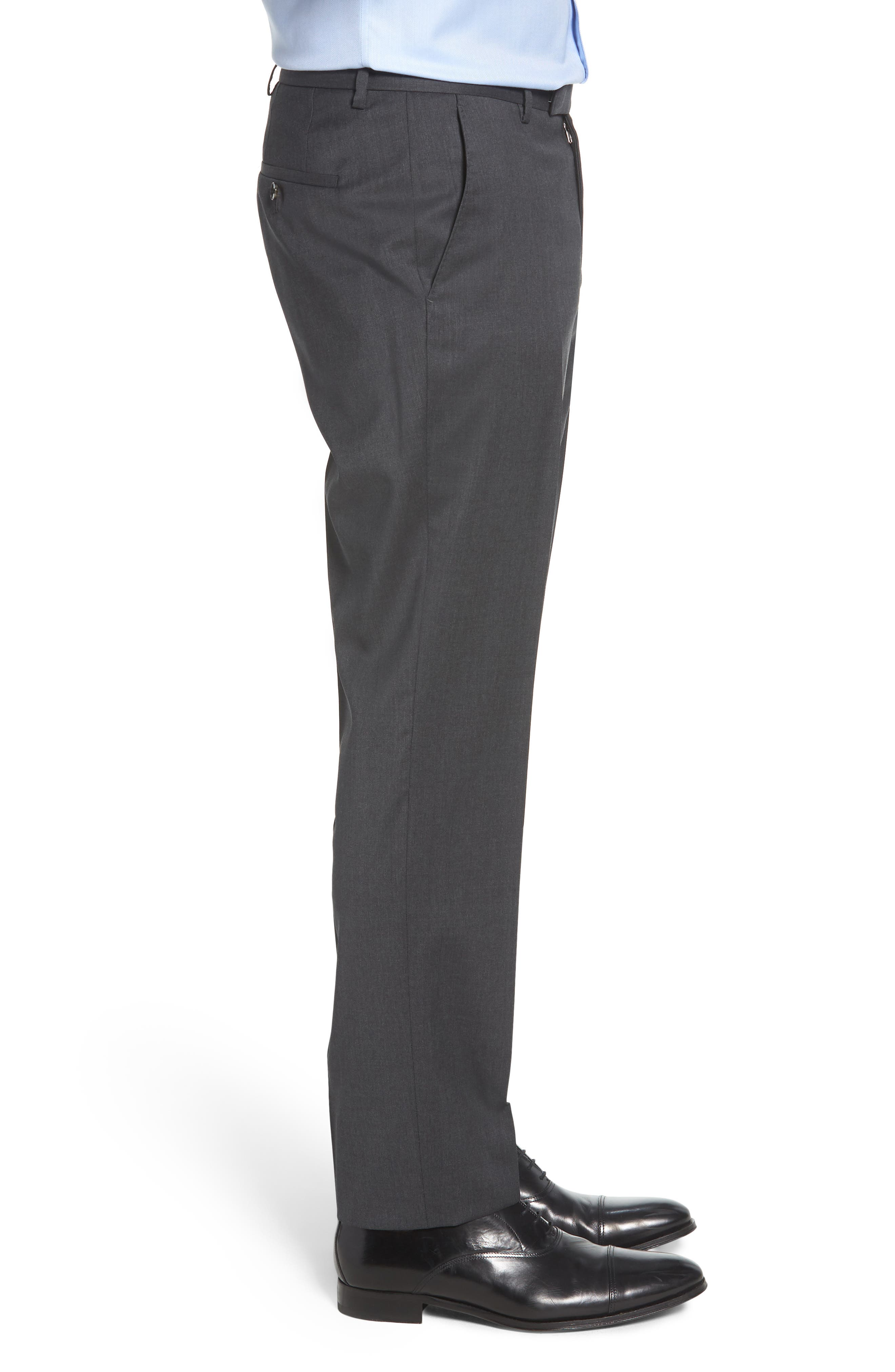 Leenon Flat Front Regular Fit Solid Wool Trousers,                             Alternate thumbnail 3, color,                             CHARCOAL