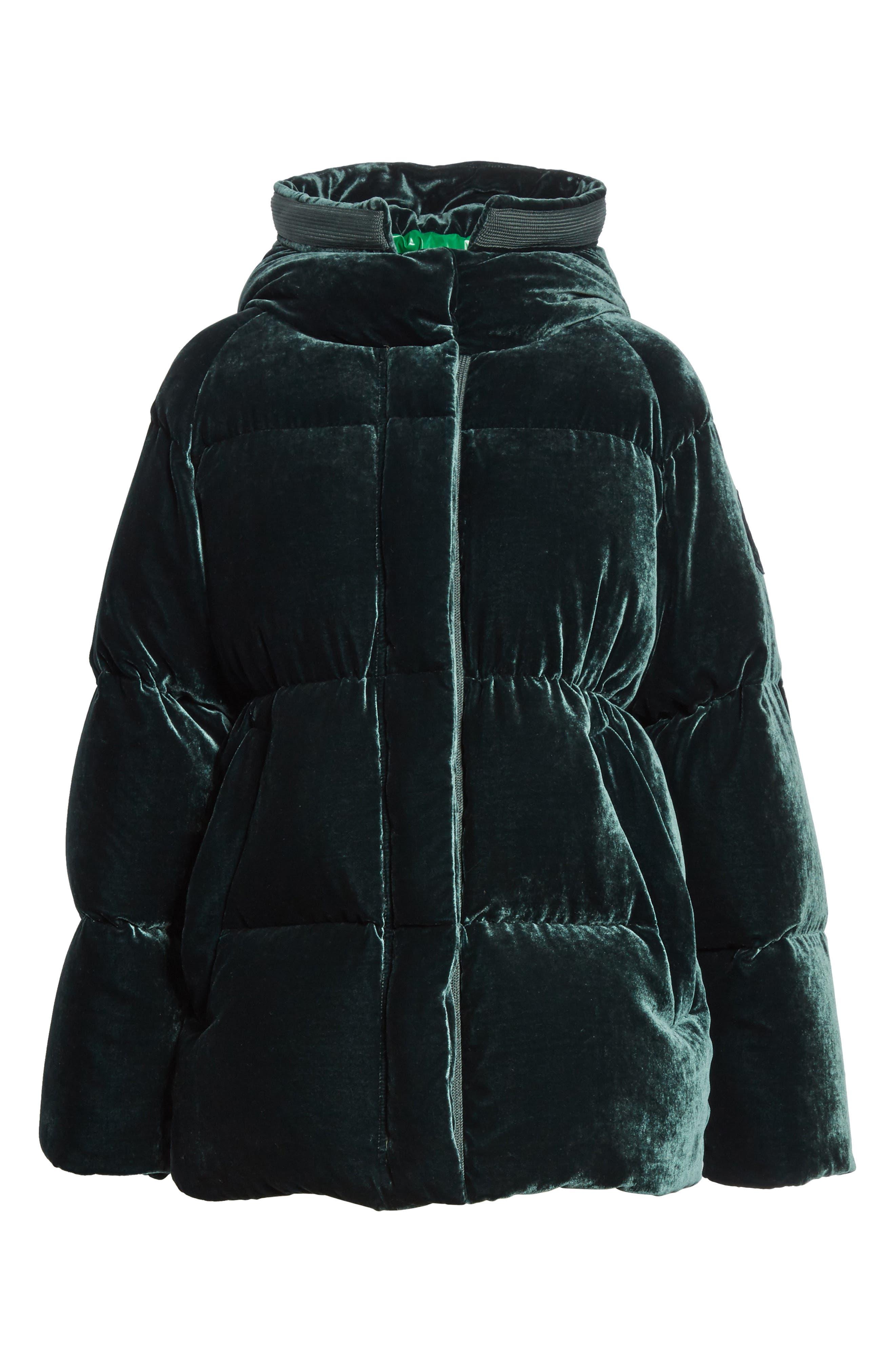 MONCLER,                             Butor Hooded Velvet Down Coat,                             Alternate thumbnail 5, color,                             FOREST GREEN