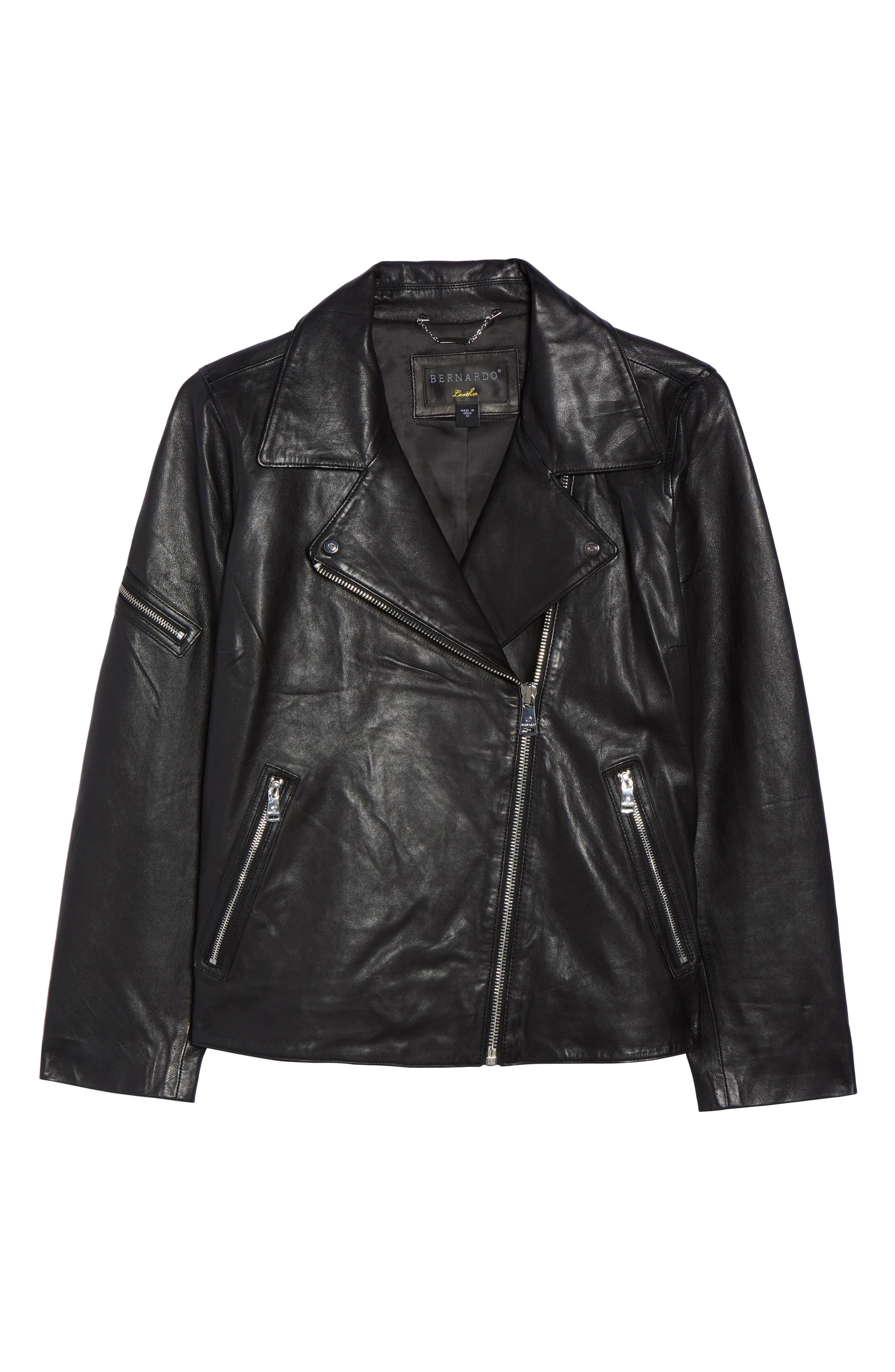 Kirwin Leather Moto Jacket,                             Alternate thumbnail 5, color,                             001
