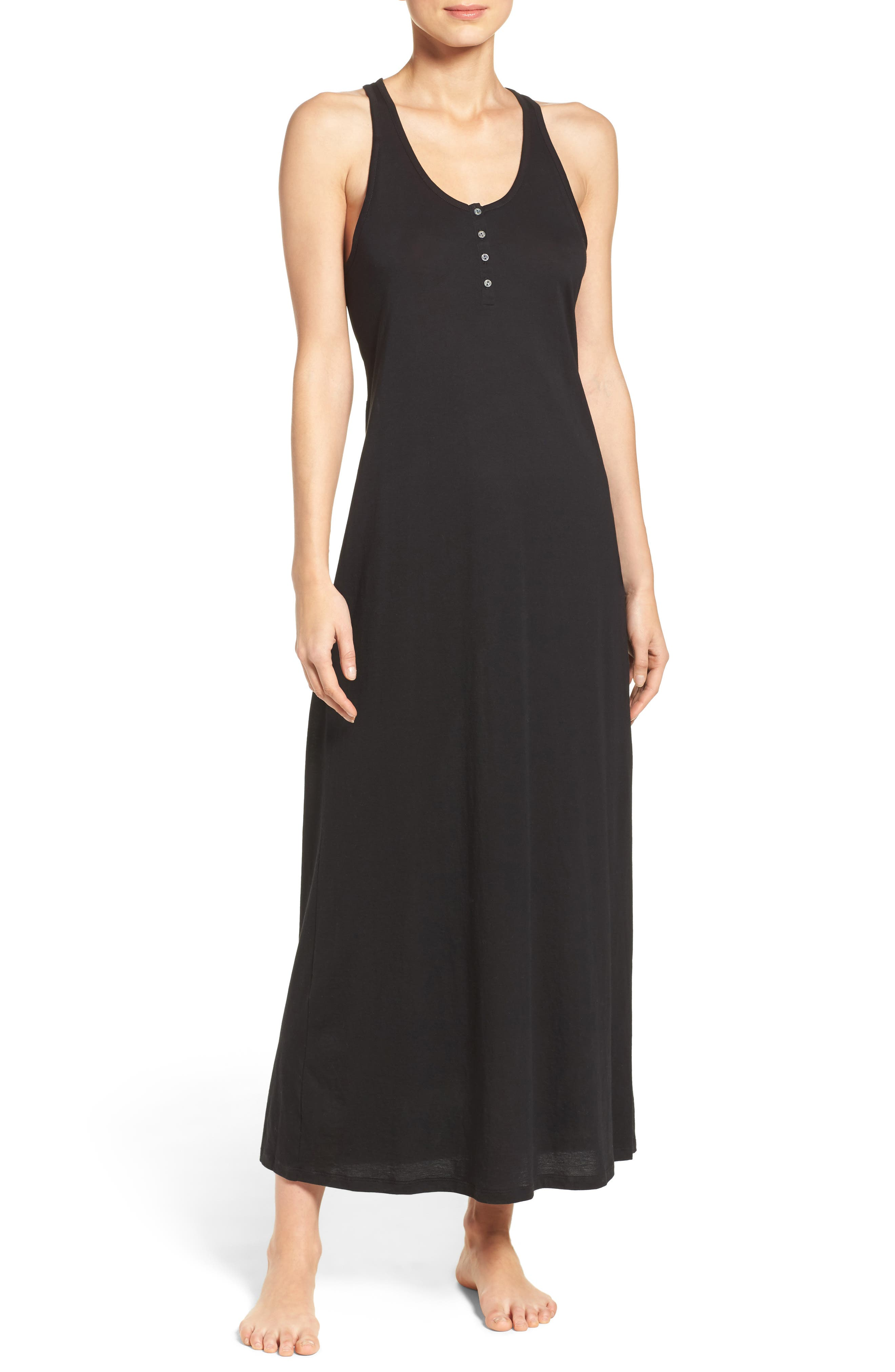 Henley Jersey Long Nightgown,                             Main thumbnail 1, color,                             001
