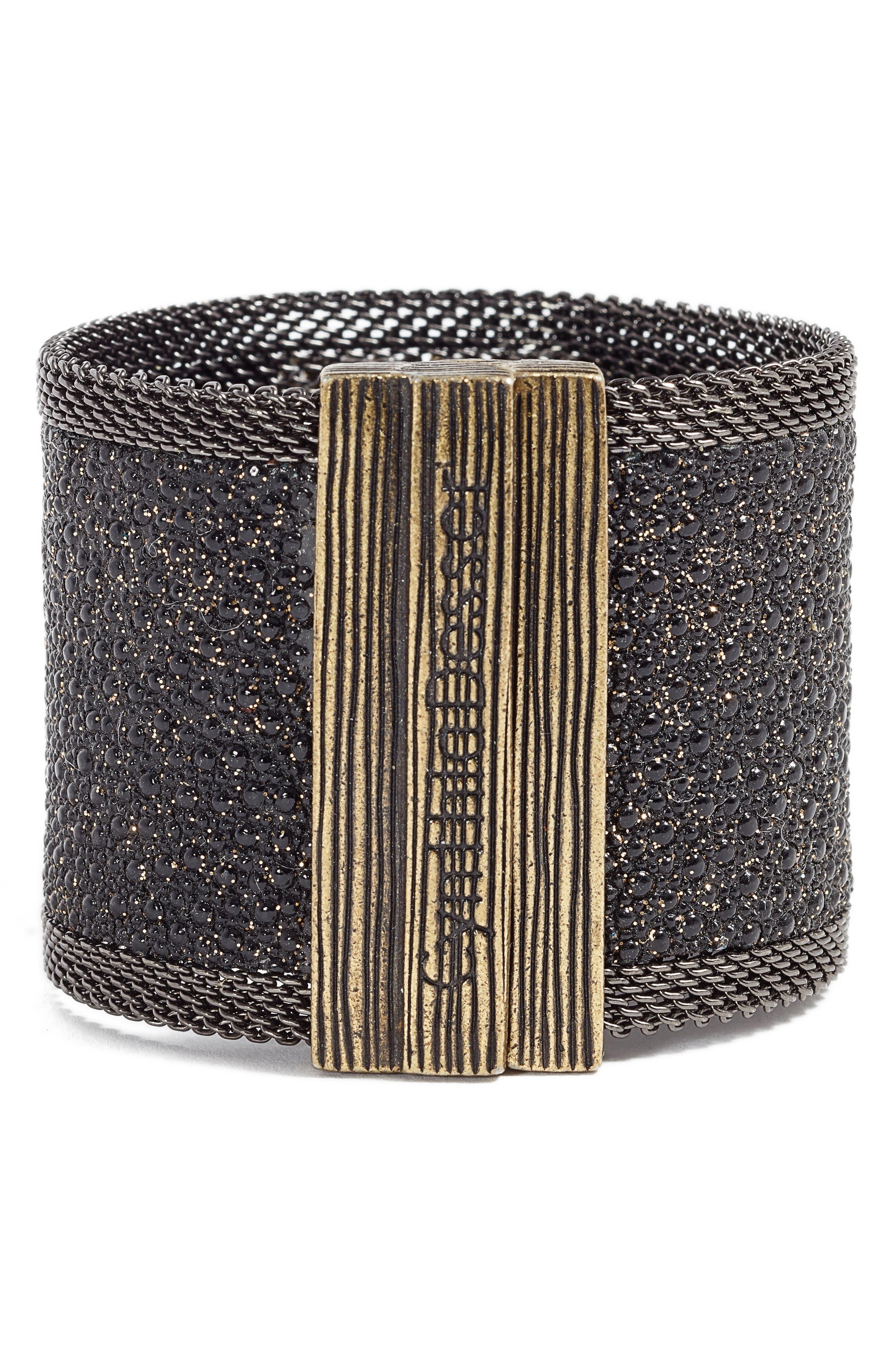 Wide Shimmer Stingray Bracelet,                             Alternate thumbnail 2, color,                             BLACK/ GOLD/ GUNMETAL