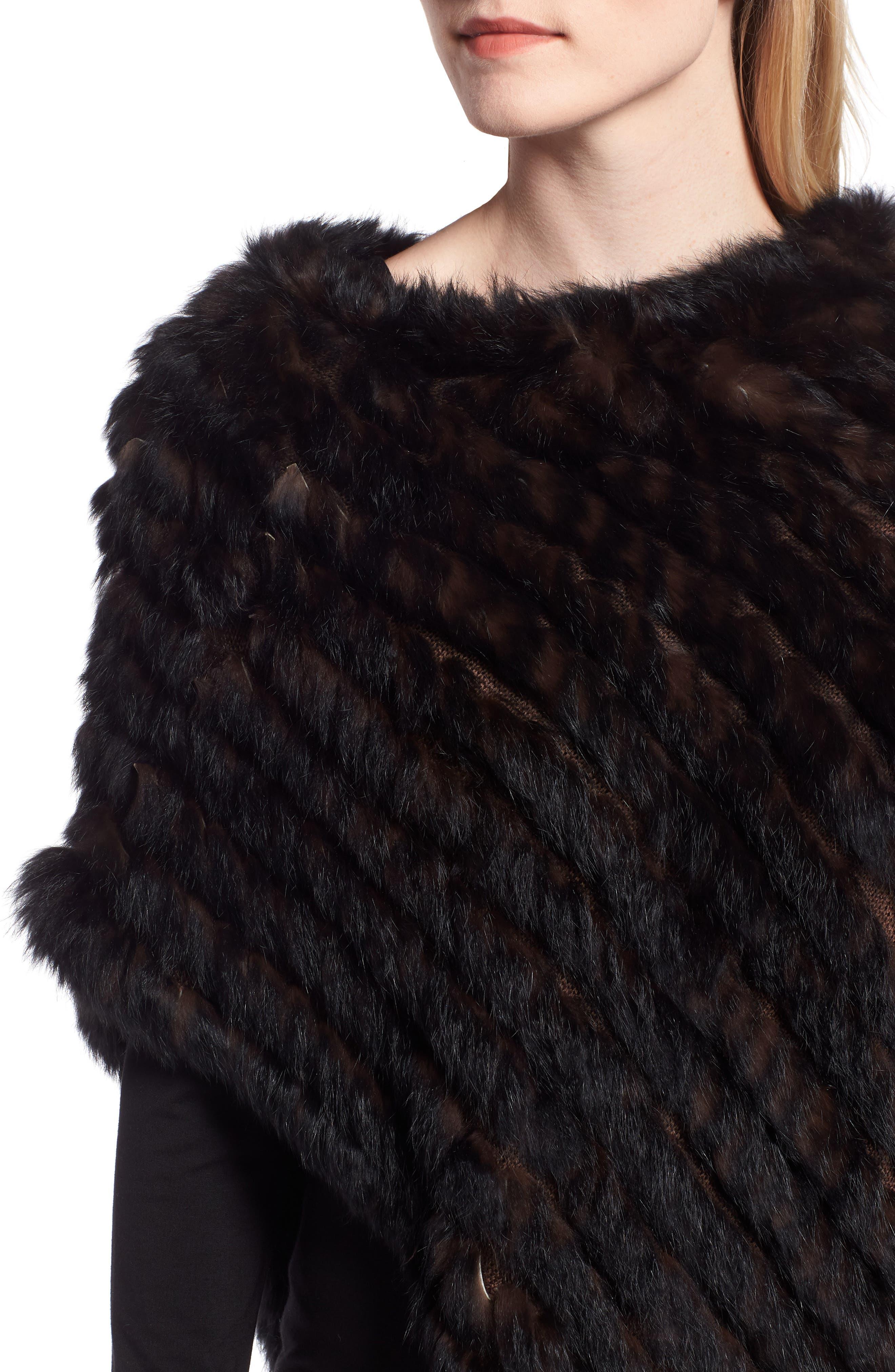 Genuine Rabbit Fur Poncho,                             Alternate thumbnail 4, color,                             BROWN