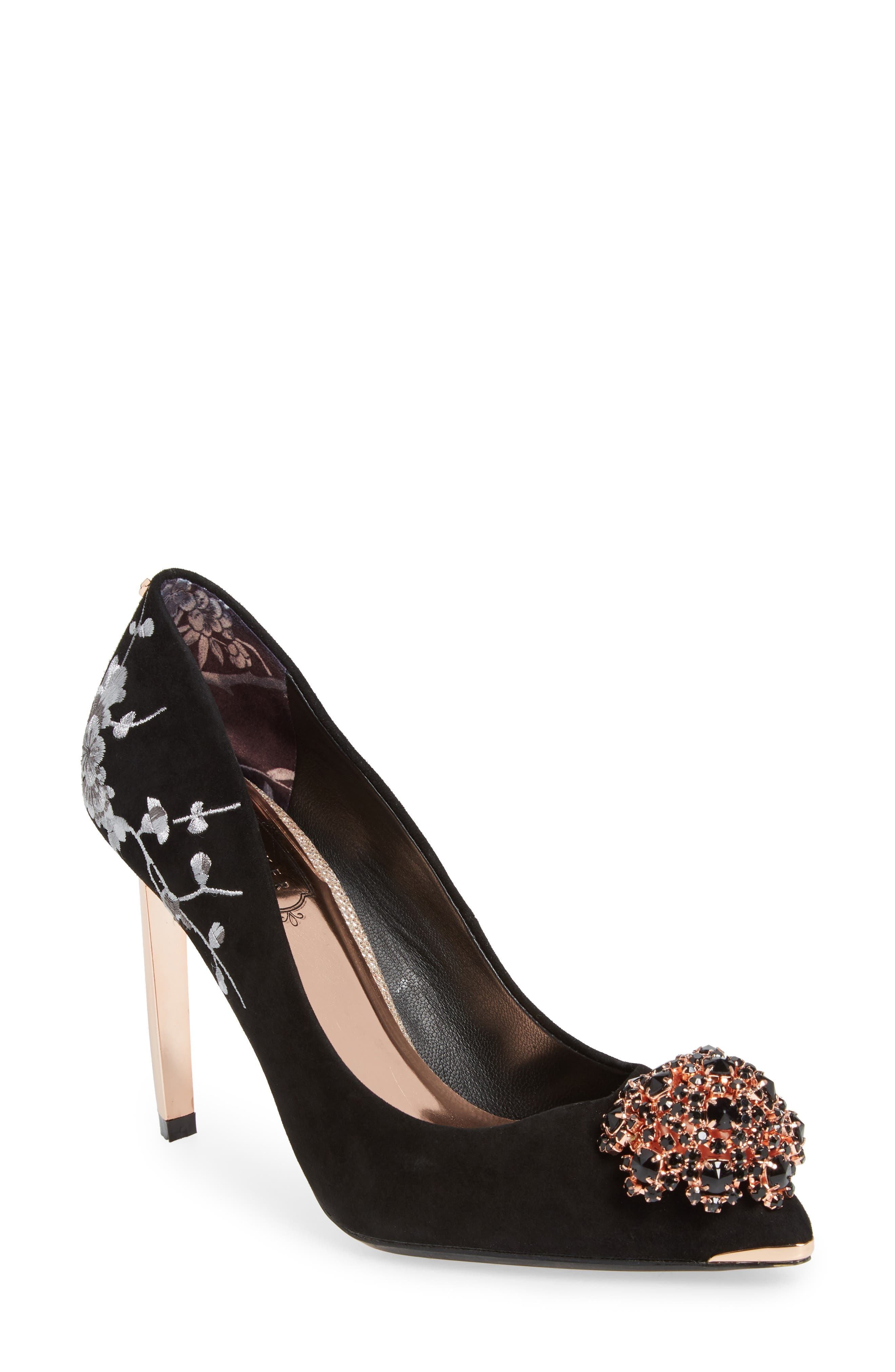 Peetchv Embroidered Pump,                             Main thumbnail 1, color,                             BLACK SUEDE