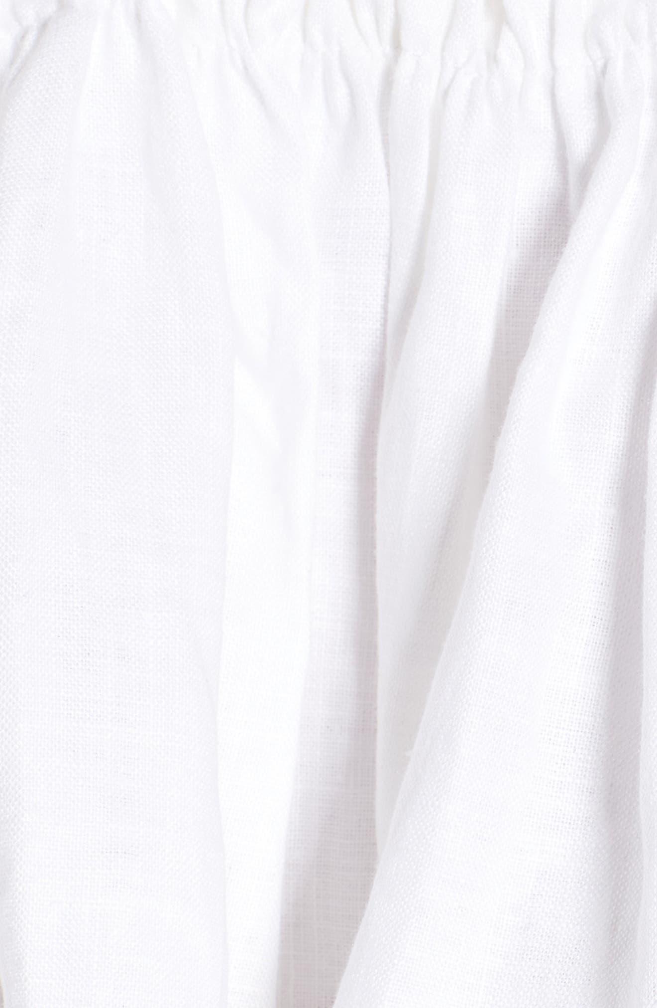 Pietro Cinched Linen Crop Top,                             Alternate thumbnail 5, color,                             100
