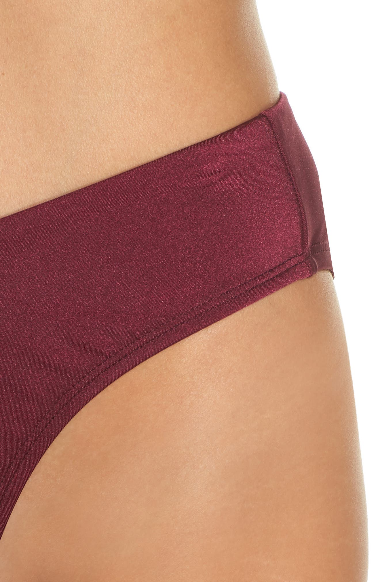 Riviera High Waist Bikini Bottoms,                             Alternate thumbnail 4, color,                             BURGUNDY FIELD