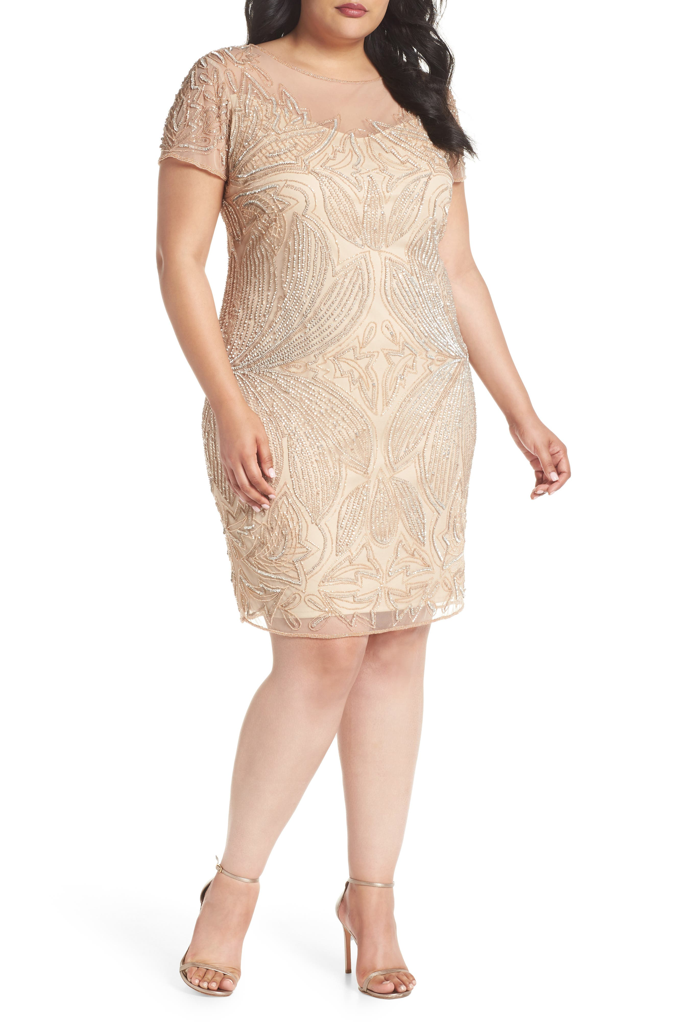 Beaded Sheath Dress,                             Main thumbnail 1, color,                             CHAMPAGNE