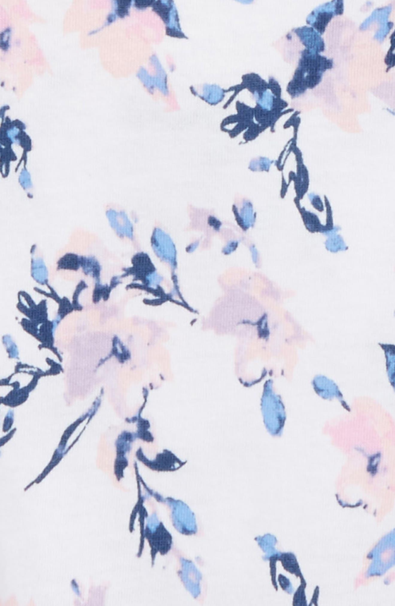 Floral Print Cotton Romper,                             Alternate thumbnail 3, color,                             100