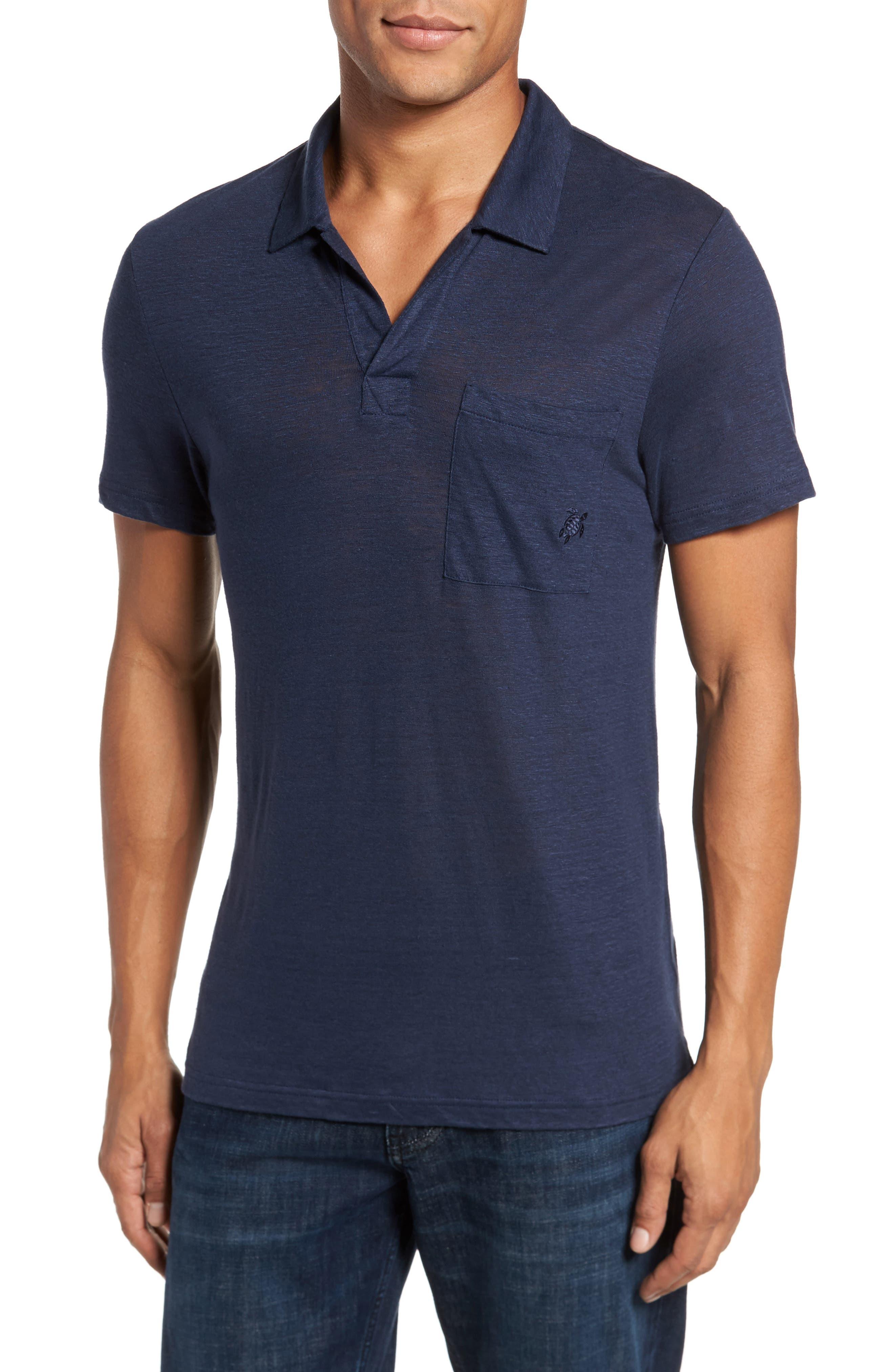 Linen Slub Jersey Linen Polo,                         Main,                         color, NAVY