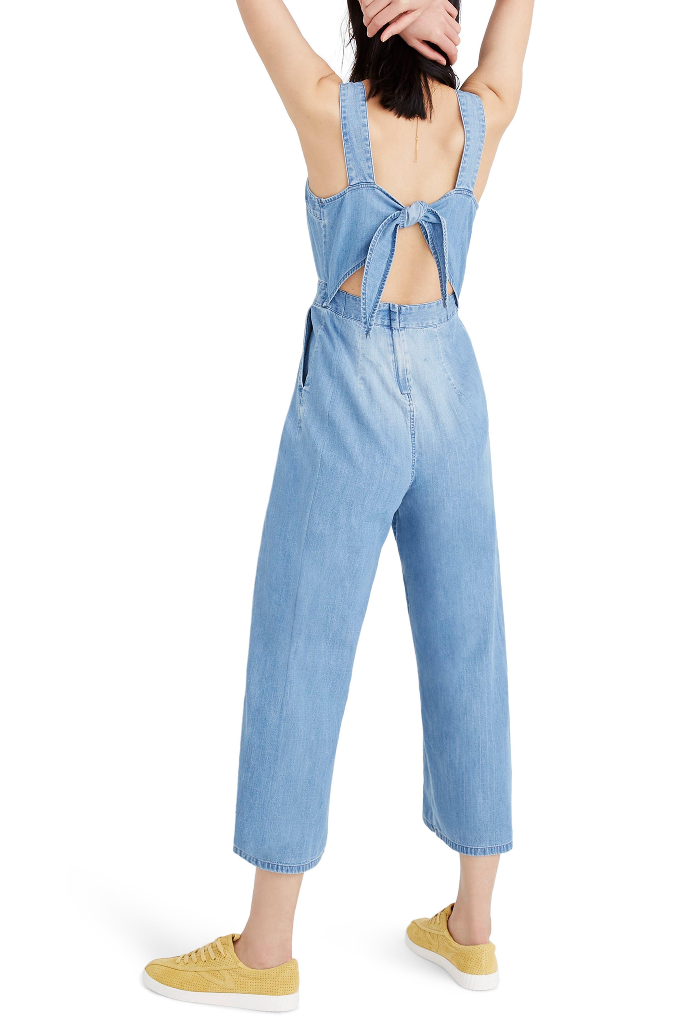 Apron Bow-Back Denim Jumpsuit,                             Alternate thumbnail 2, color,                             RHONDA WASH