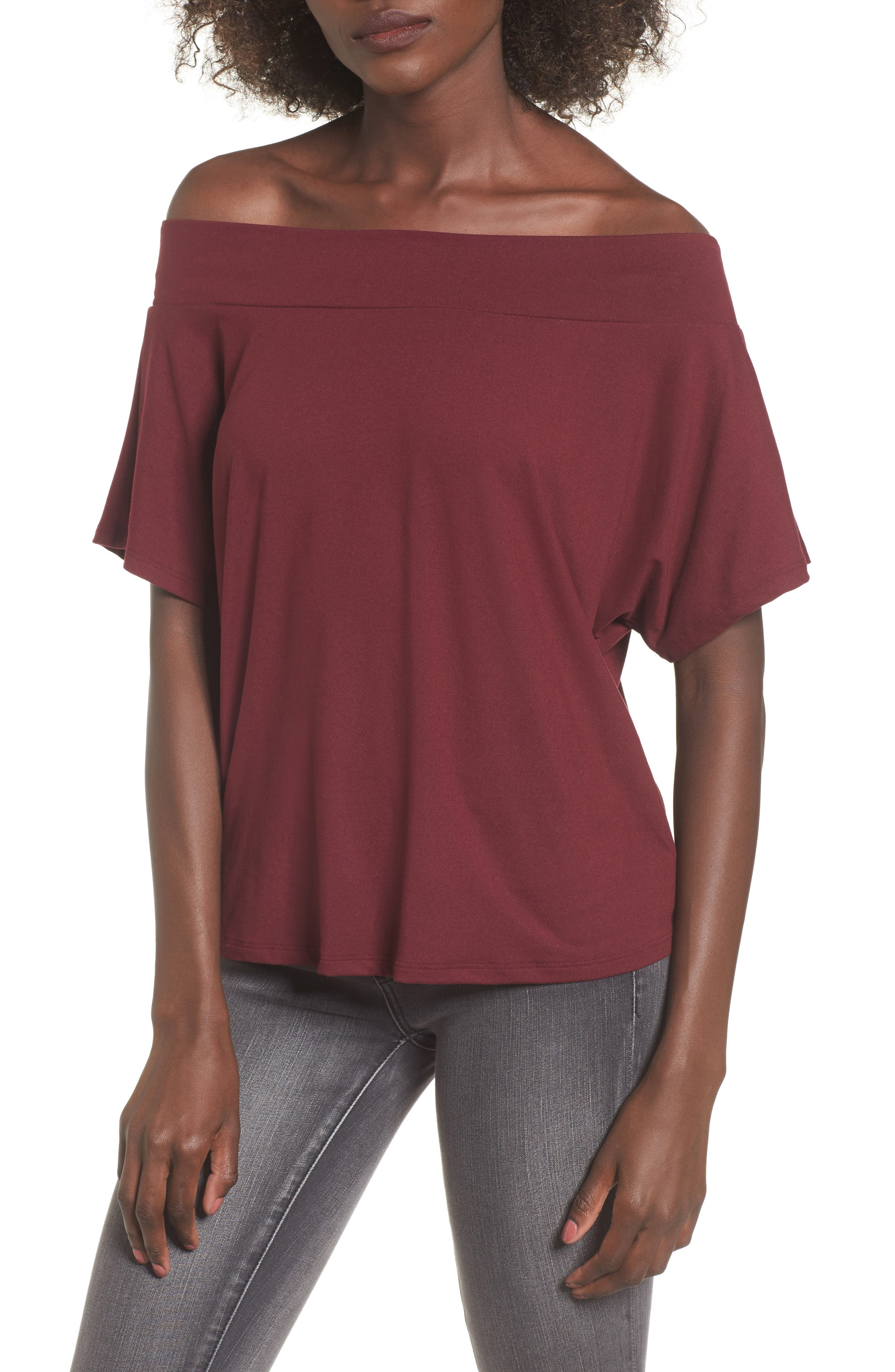 Dolman Sleeve Off the Shoulder Tee,                             Main thumbnail 1, color,                             930