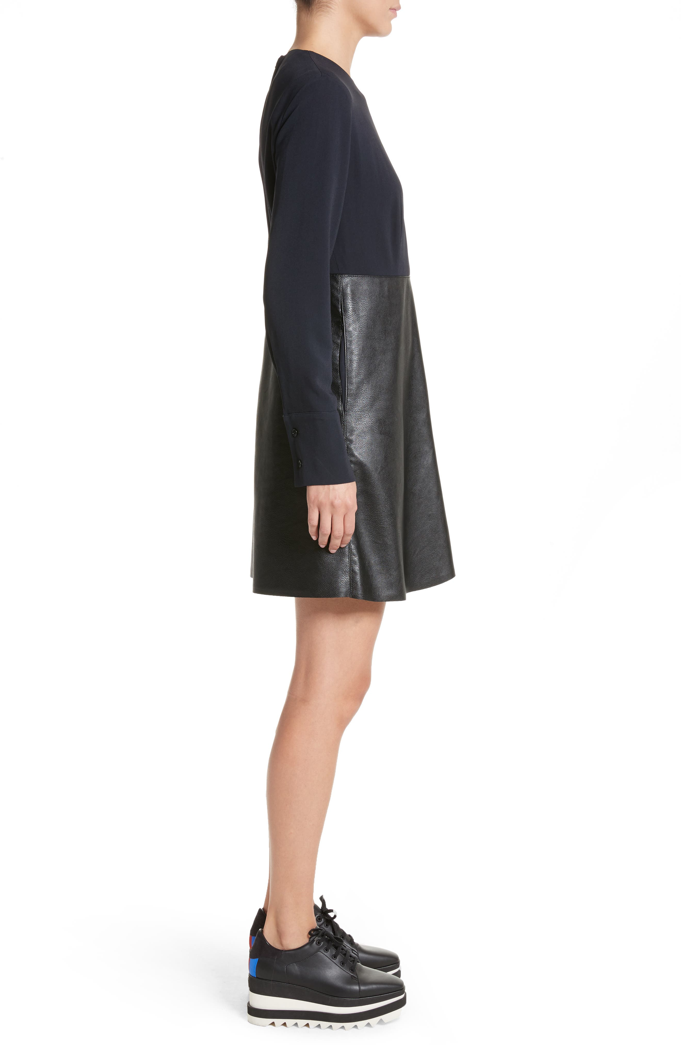Alter Leather & Stretch Cady Dress,                             Alternate thumbnail 3, color,                             001