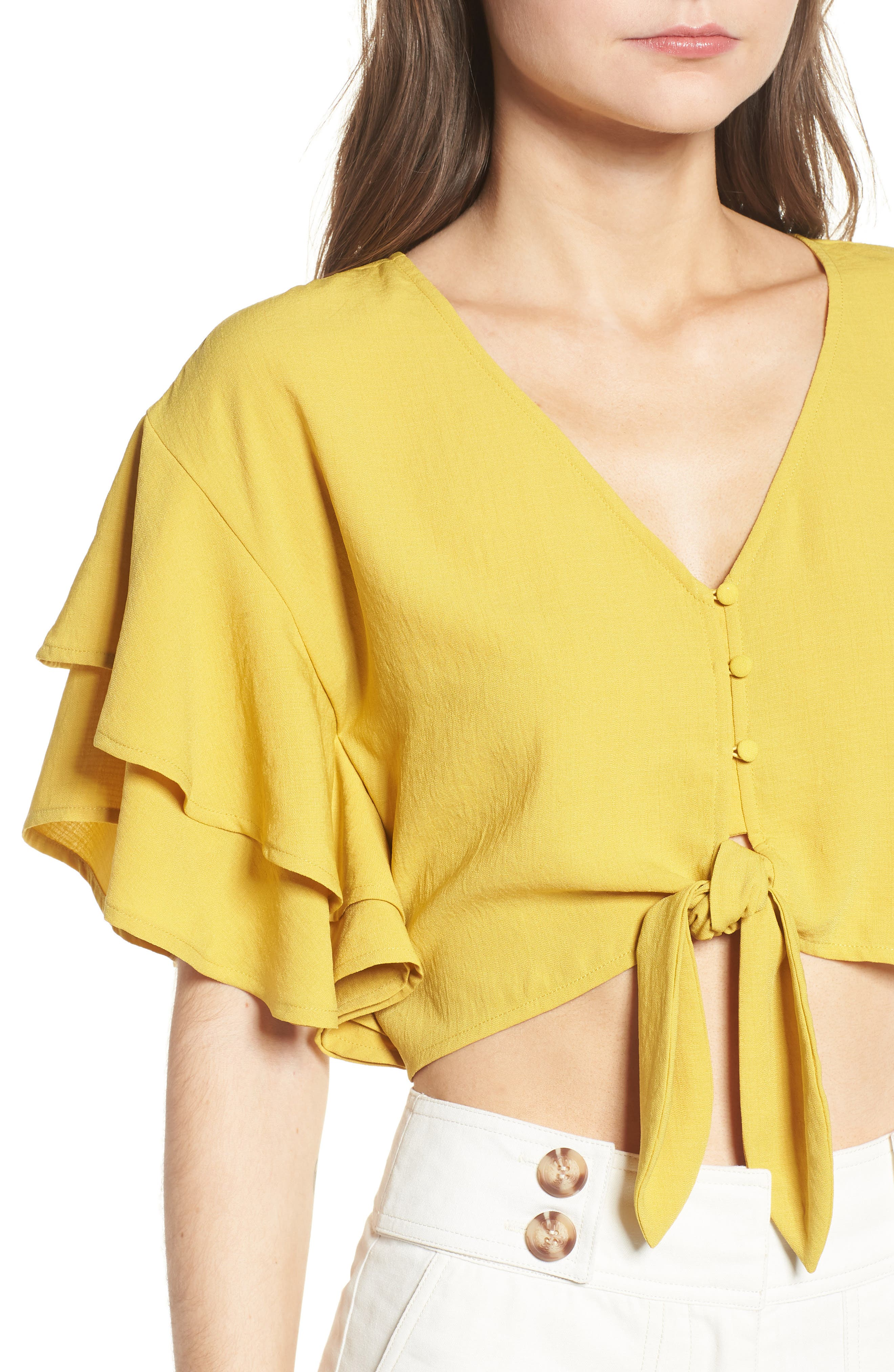 MOON RIVER,                             Ruffle Sleeve Crop Top,                             Alternate thumbnail 4, color,                             753