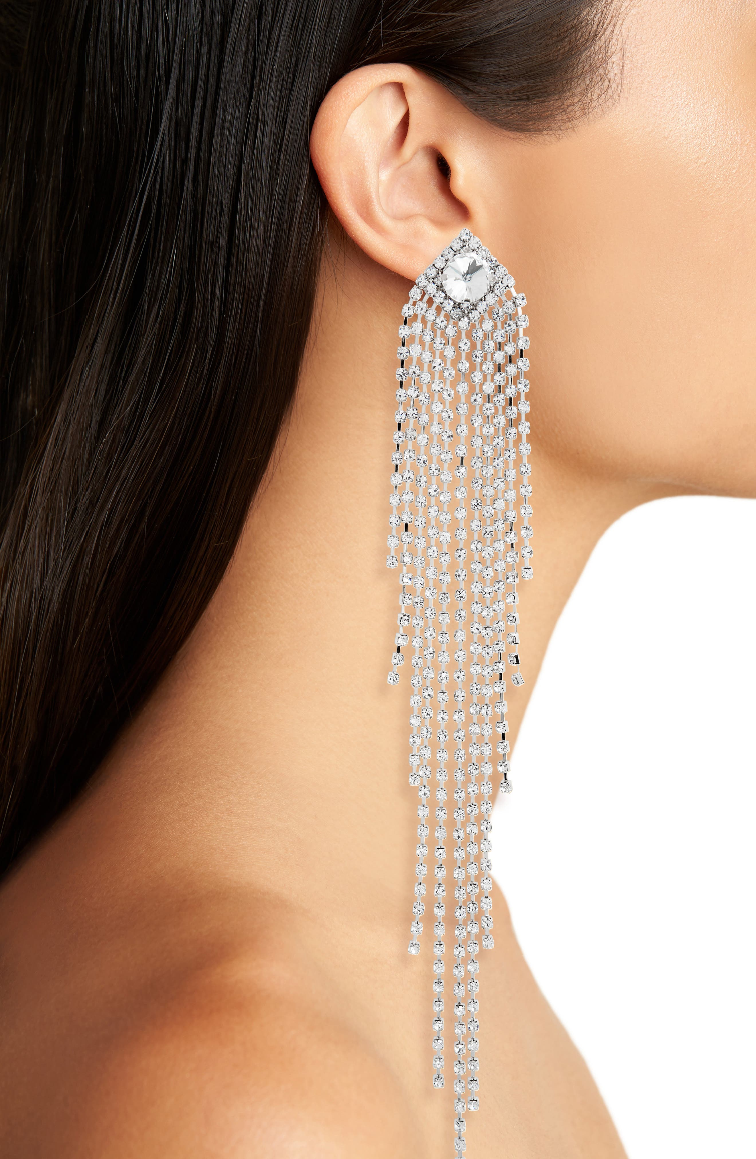 Drama Crystal Shoulder Duster Earrings,                             Alternate thumbnail 8, color,
