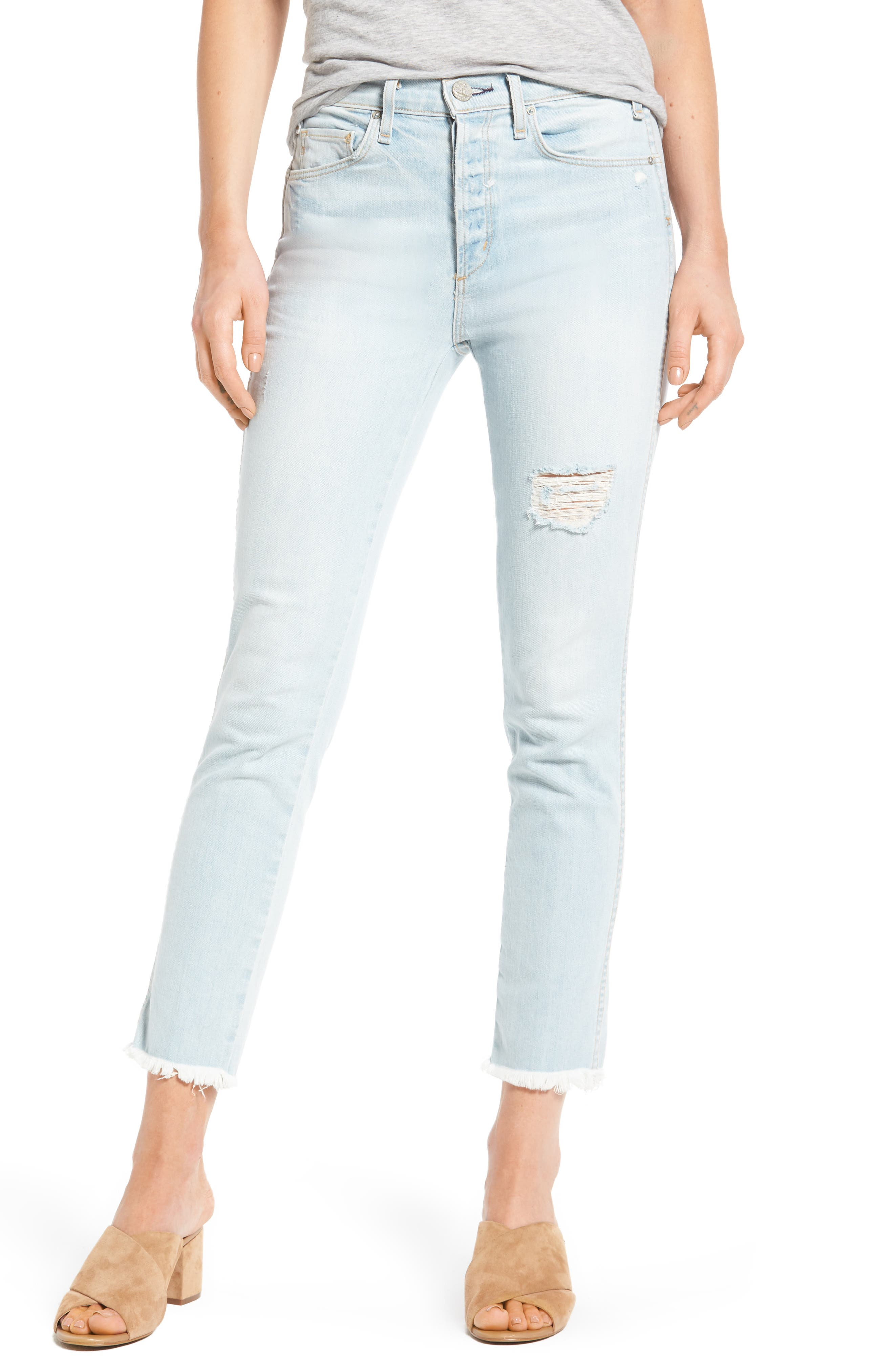 High Waist Crop Slim Jeans,                             Main thumbnail 1, color,                             453