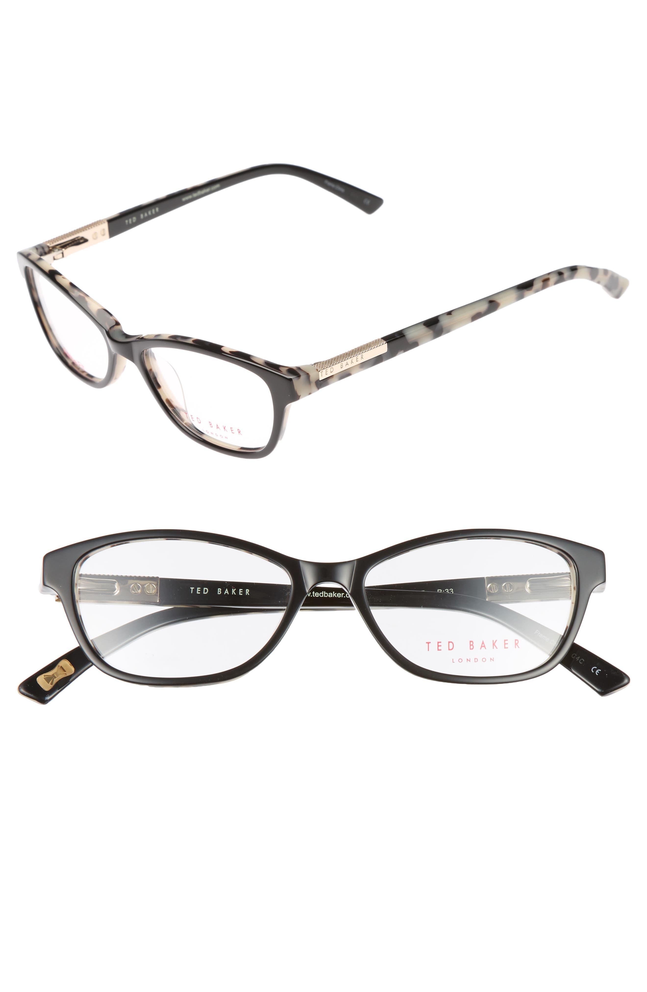 50mm Optical Cat Eye Glasses,                             Main thumbnail 1, color,                             001