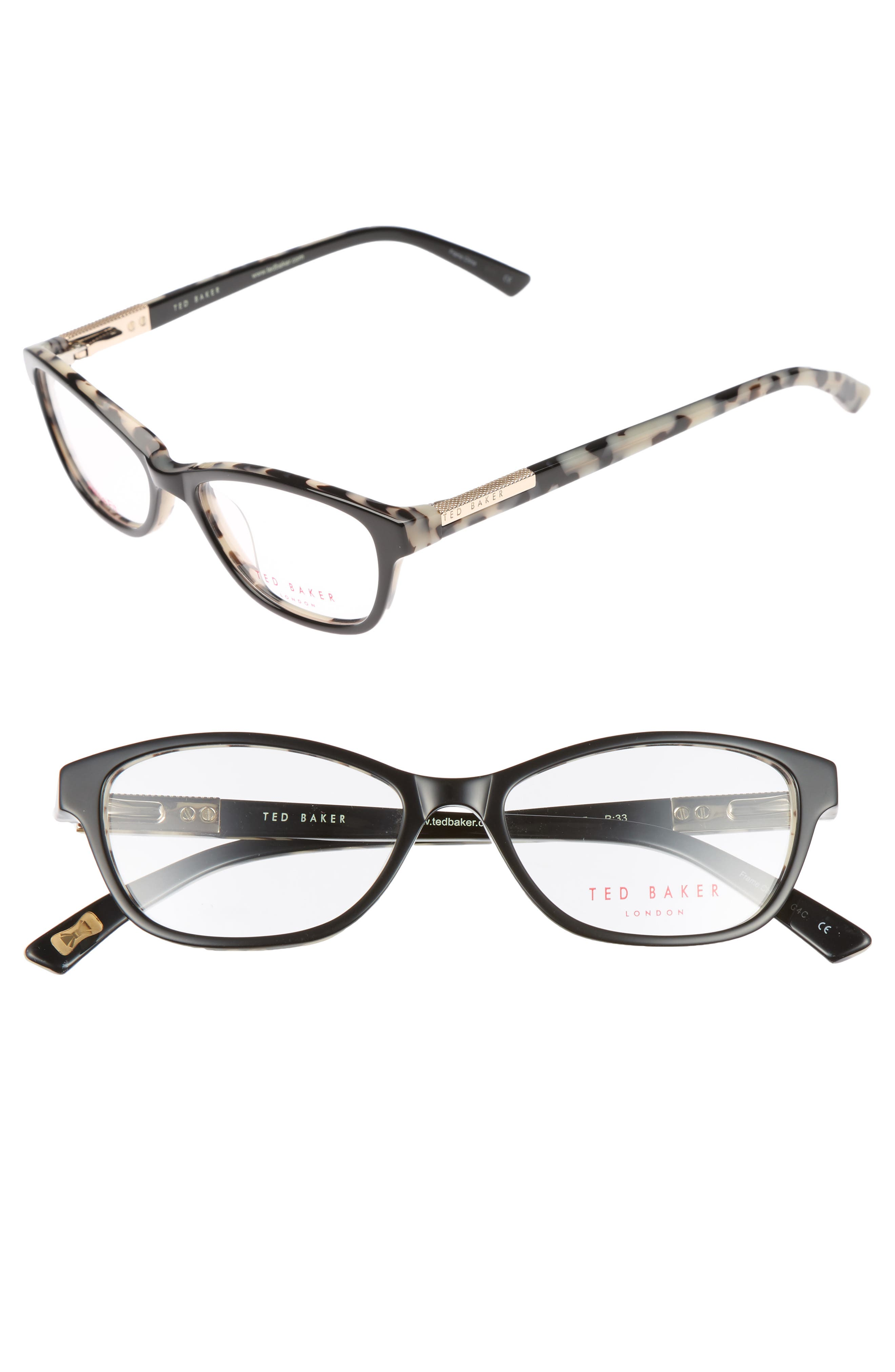 50mm Optical Cat Eye Glasses,                         Main,                         color, 001