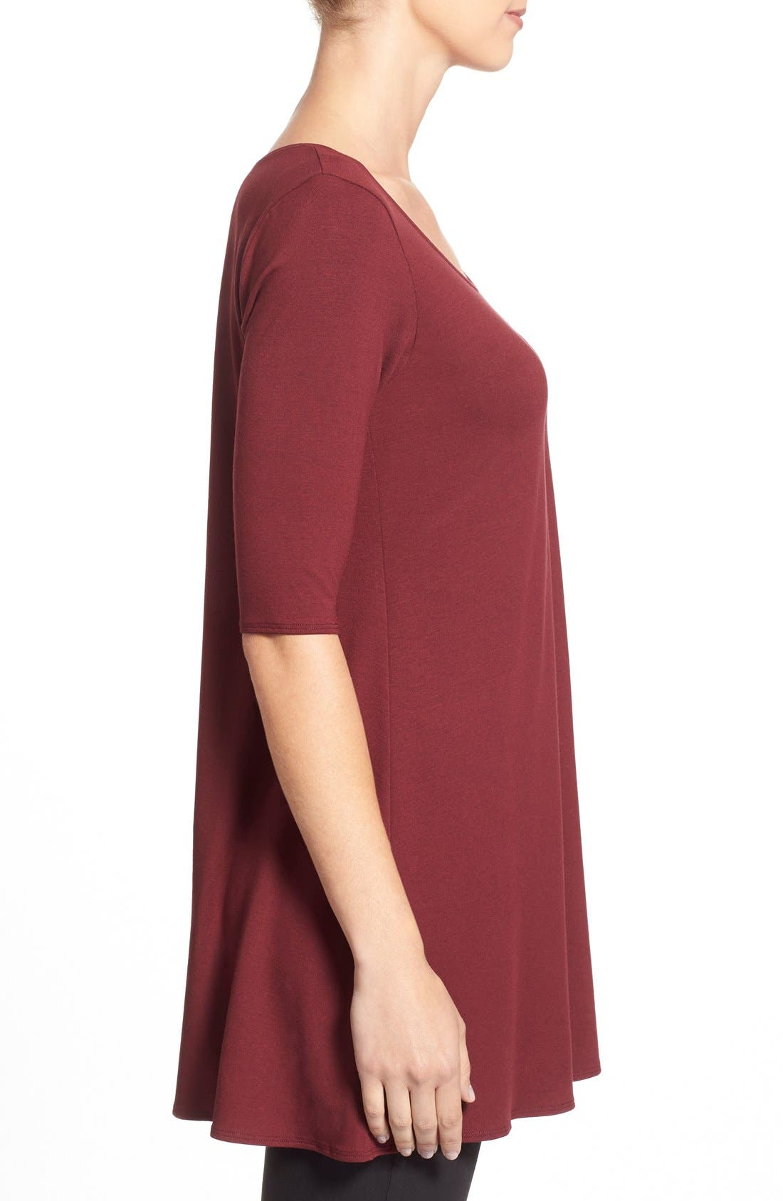 Scoop Neck Elbow Sleeve Jersey Tunic,                             Alternate thumbnail 71, color,