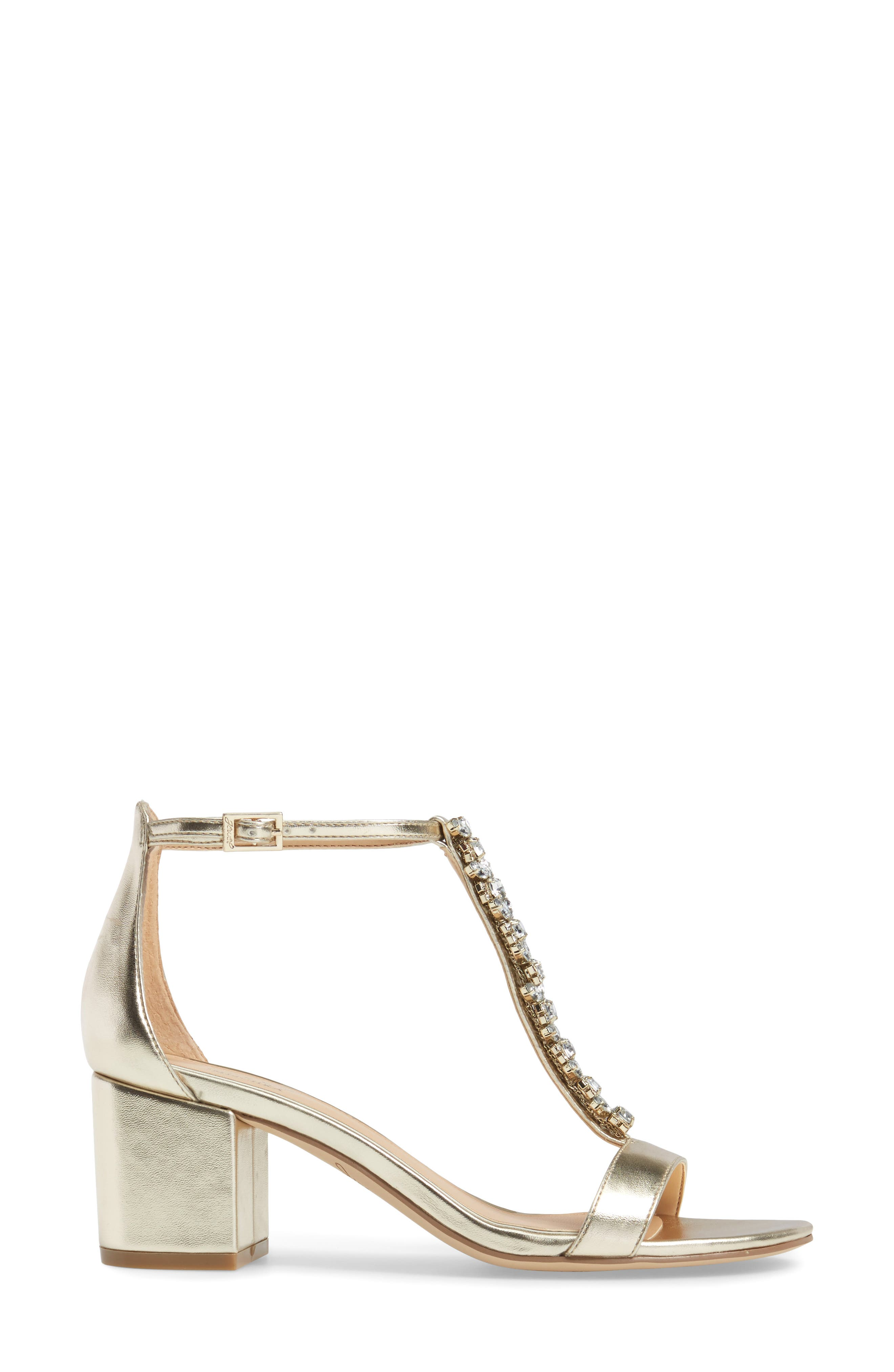 Lindsey Embellished T-Strap Sandal,                             Alternate thumbnail 3, color,                             GOLD LEATHER