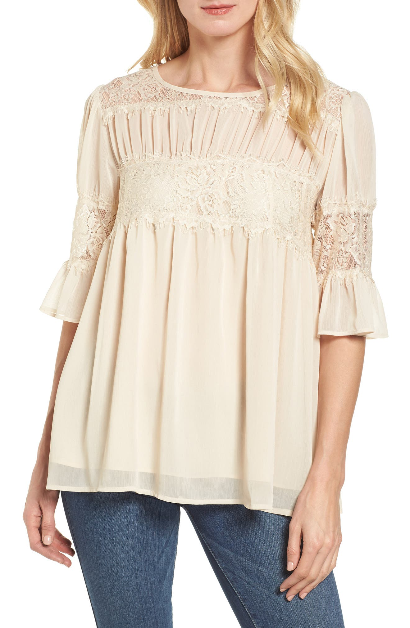 Lace Panel Pleated Blouse,                             Main thumbnail 4, color,