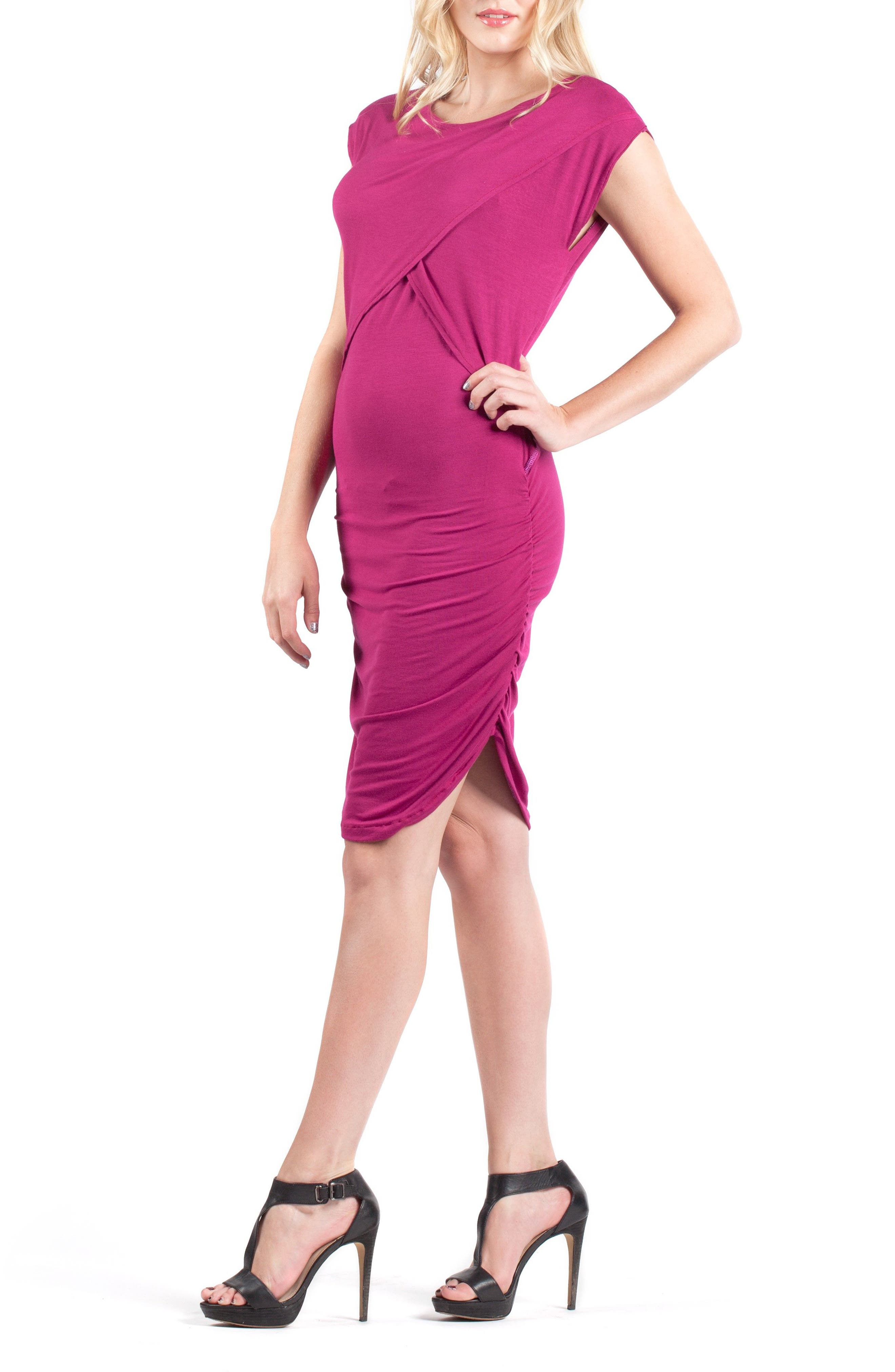 Miami Crossover Maternity/Nursing Sheath Dress, Main, color, MAGENTA