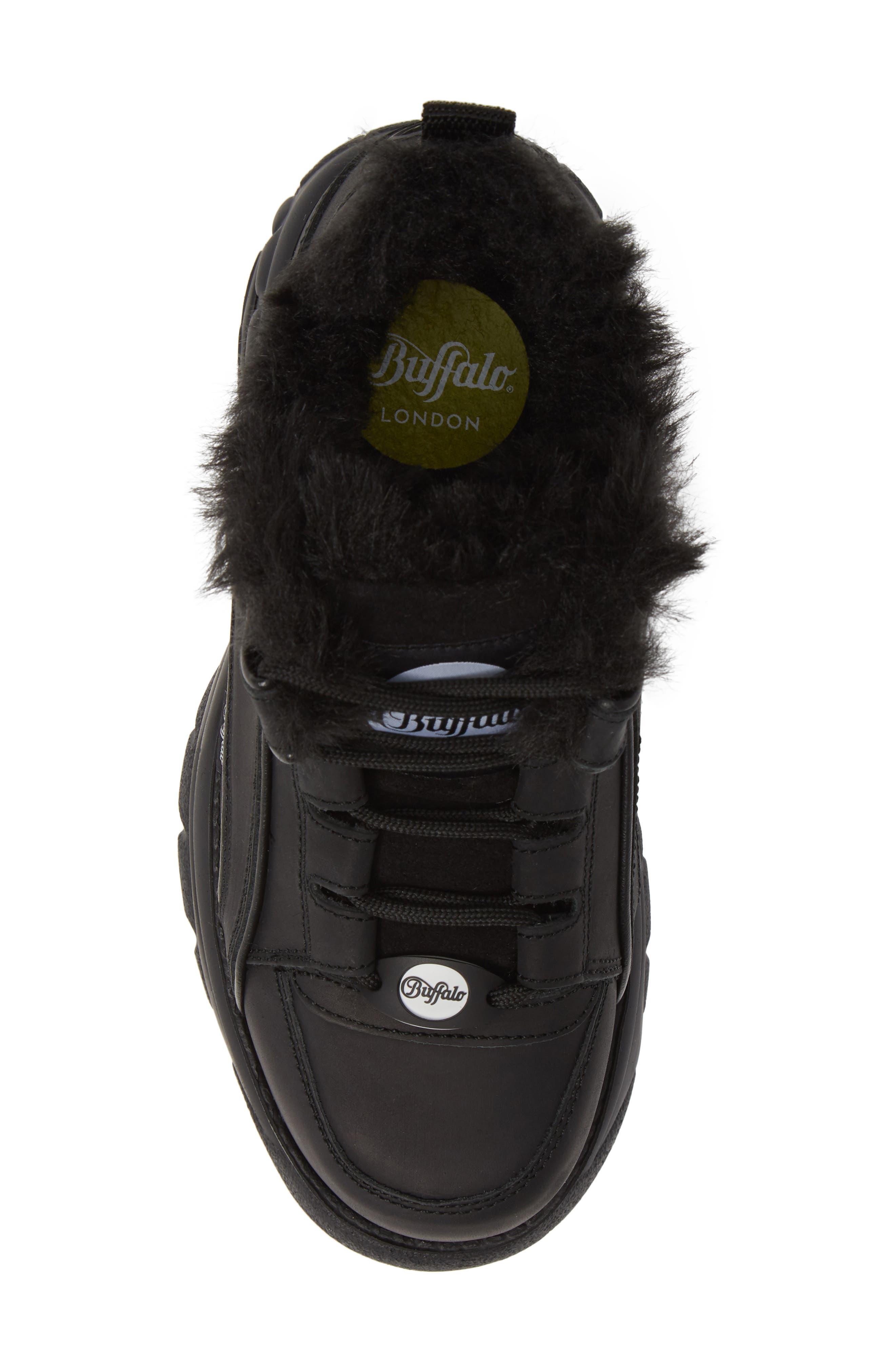x Buffalo Platform Sneaker with Faux Fur Trim,                             Alternate thumbnail 5, color,                             001