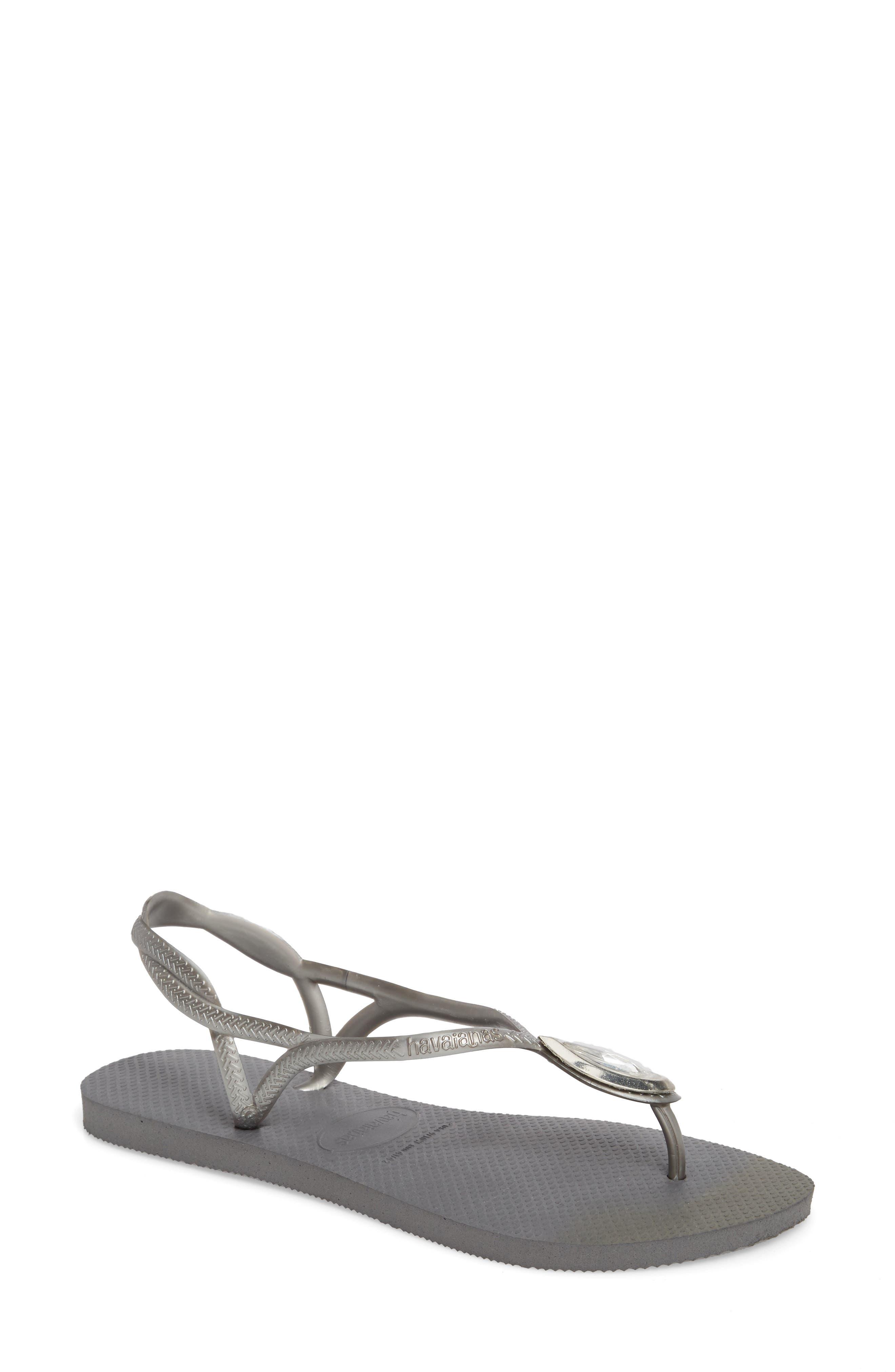 Luna Sandal,                         Main,                         color, STEEL GREY