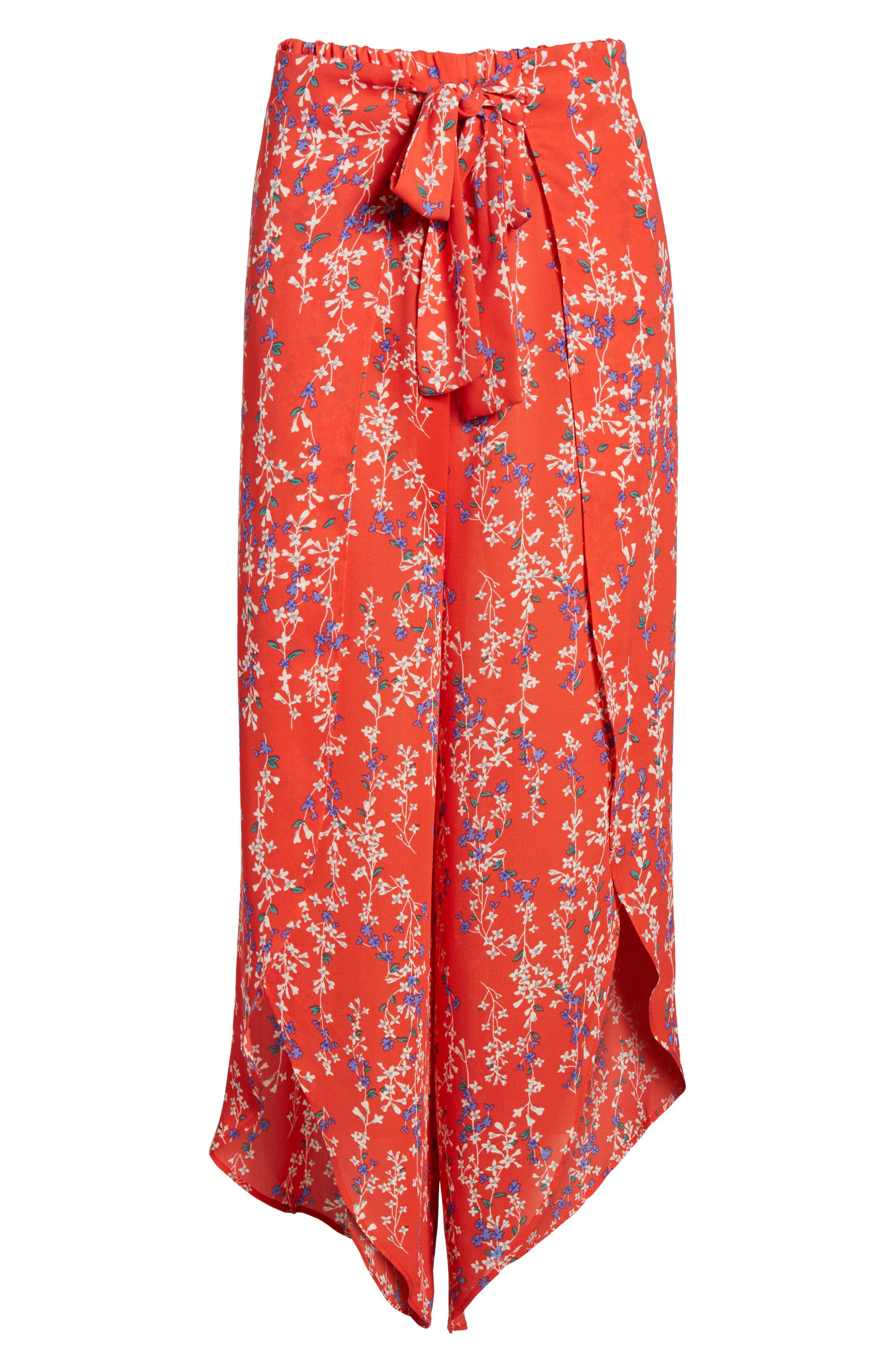 Floral Tie Front Split Hem Pants,                             Alternate thumbnail 7, color,                             601