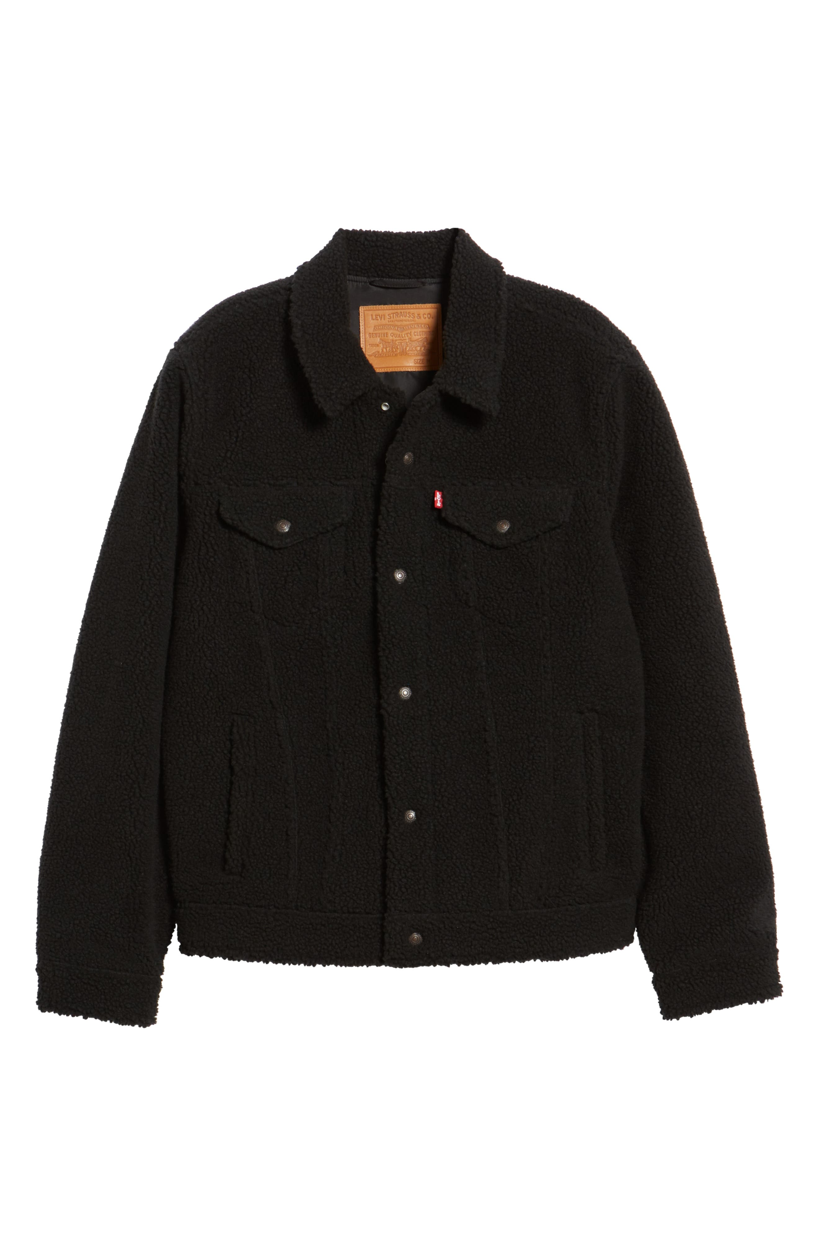 Fleece Trucker Jacket,                             Alternate thumbnail 6, color,                             BLACK