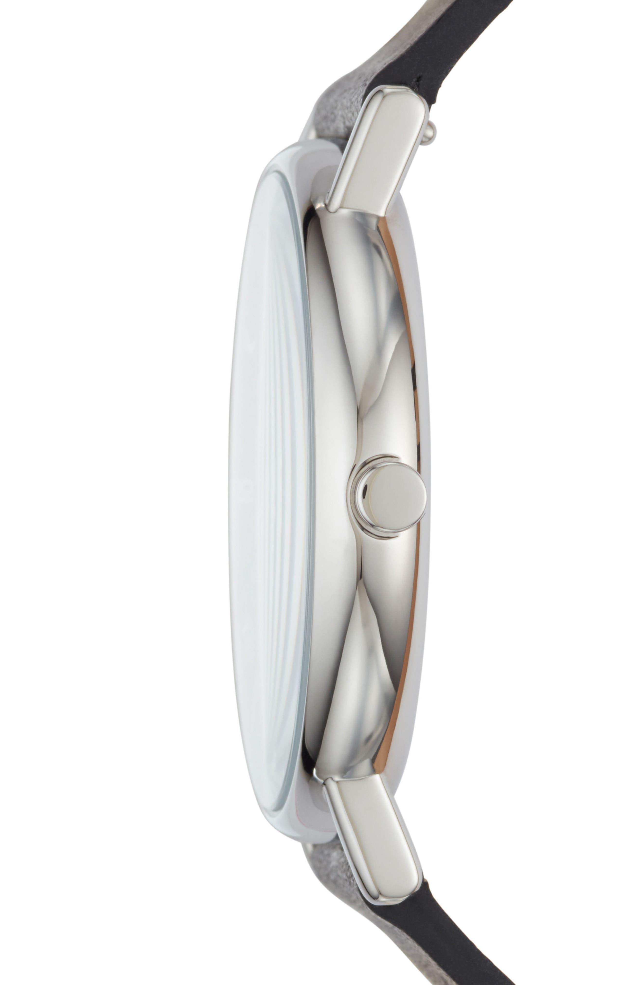 Signatur Slim Leather Strap Watch, 40mm,                             Alternate thumbnail 8, color,