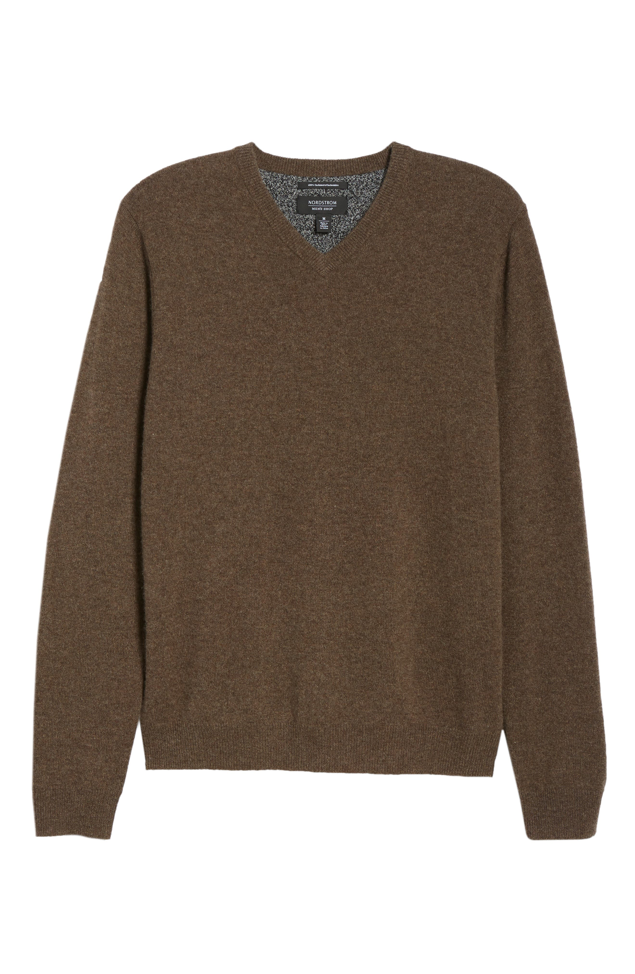 Cashmere V-Neck Sweater,                             Alternate thumbnail 6, color,                             BROWN FAWN