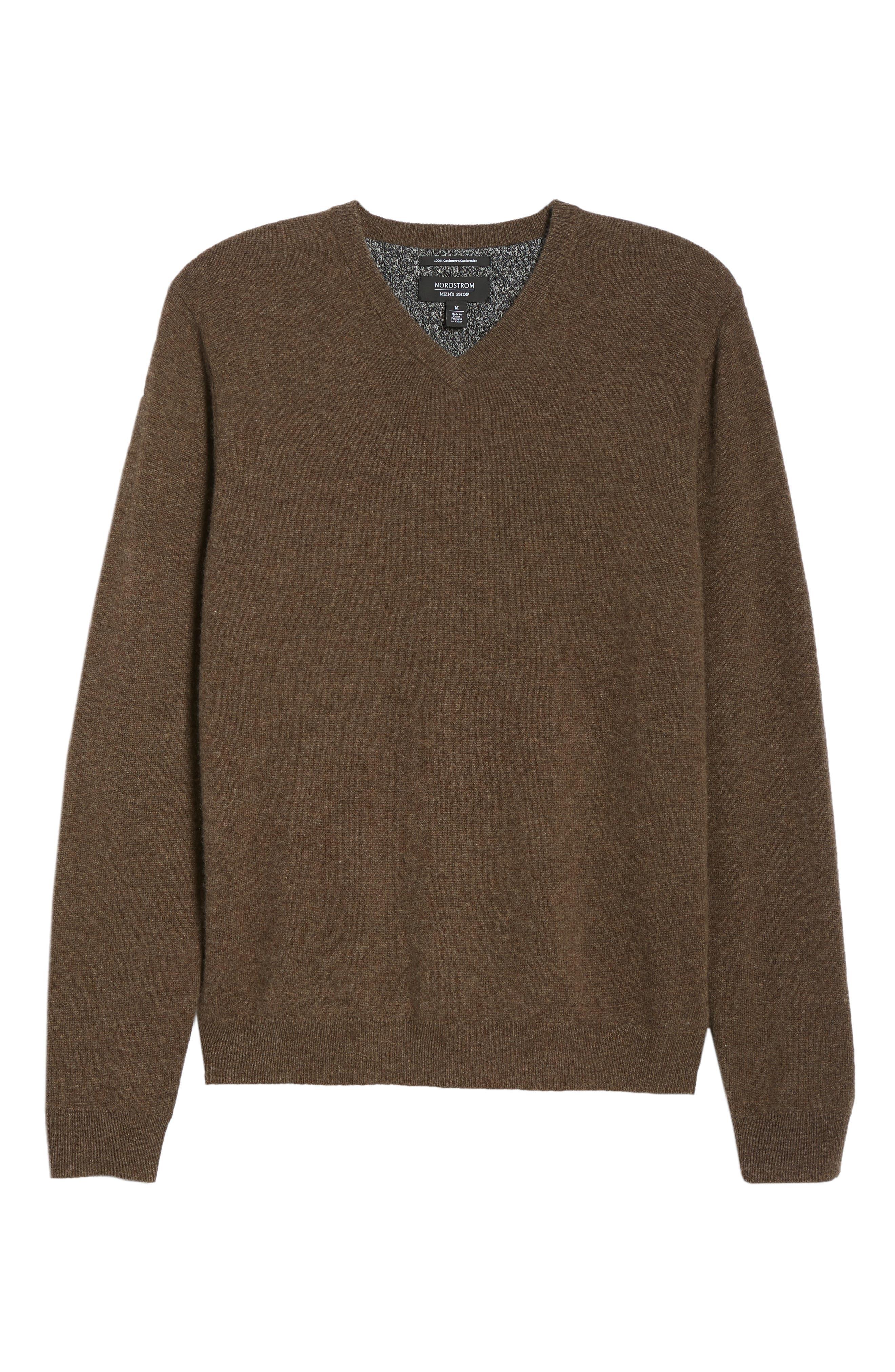 Cashmere V-Neck Sweater,                             Alternate thumbnail 6, color,                             210
