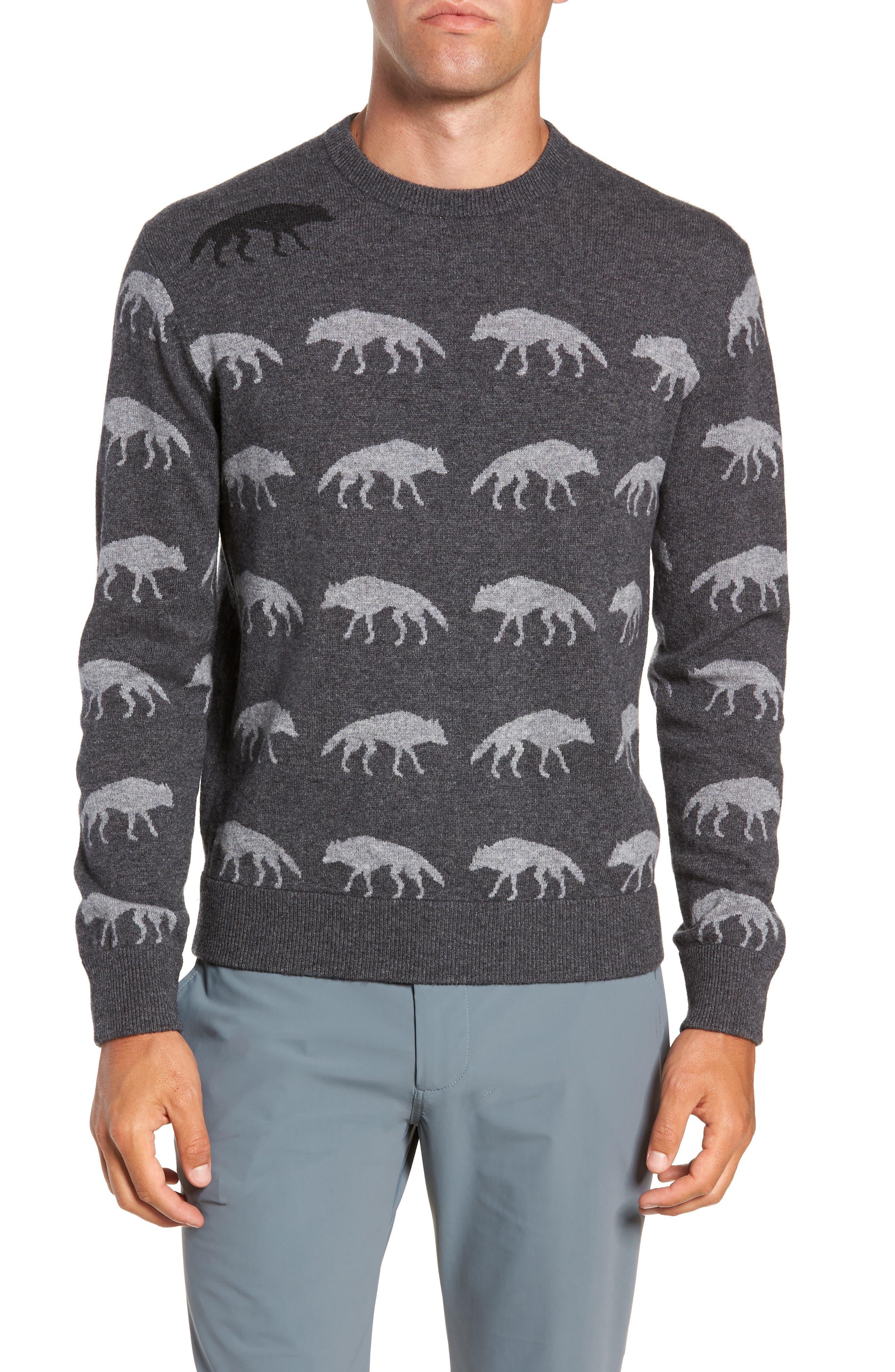 Alphawolf Intarsia Crewneck Sweater,                         Main,                         color, GREY HEATHER