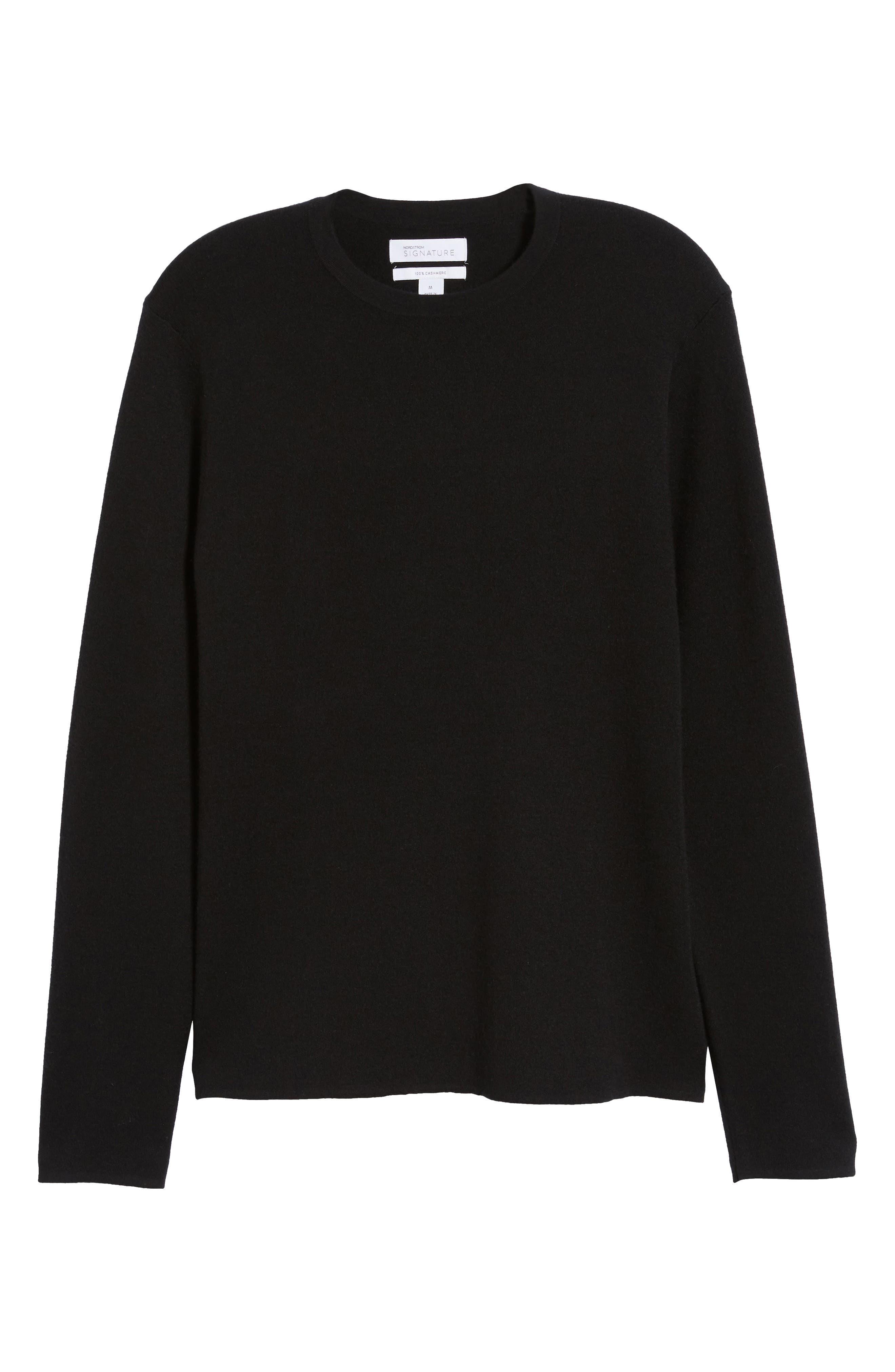 Crewneck Cashmere Sweater,                             Alternate thumbnail 6, color,                             BLACK CAVIAR