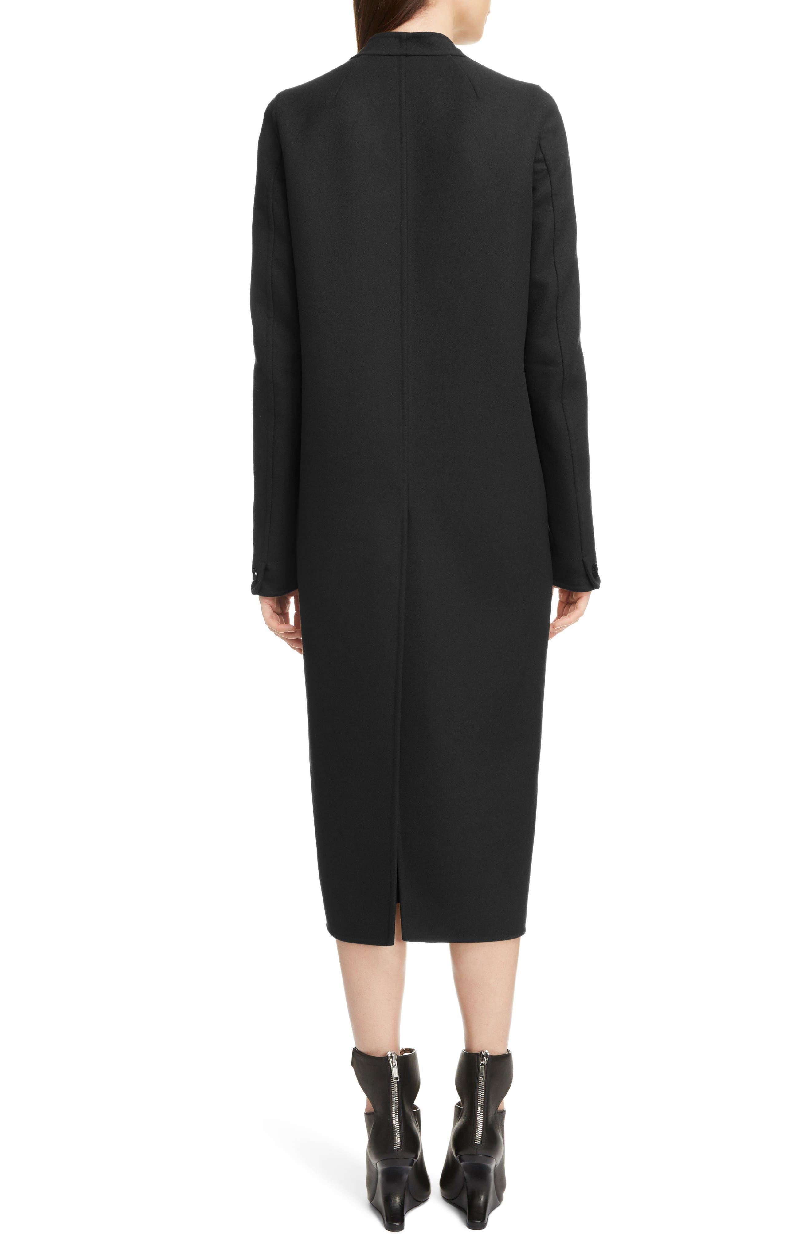 Double Face Wool Blend Coat,                             Alternate thumbnail 2, color,                             BLACK