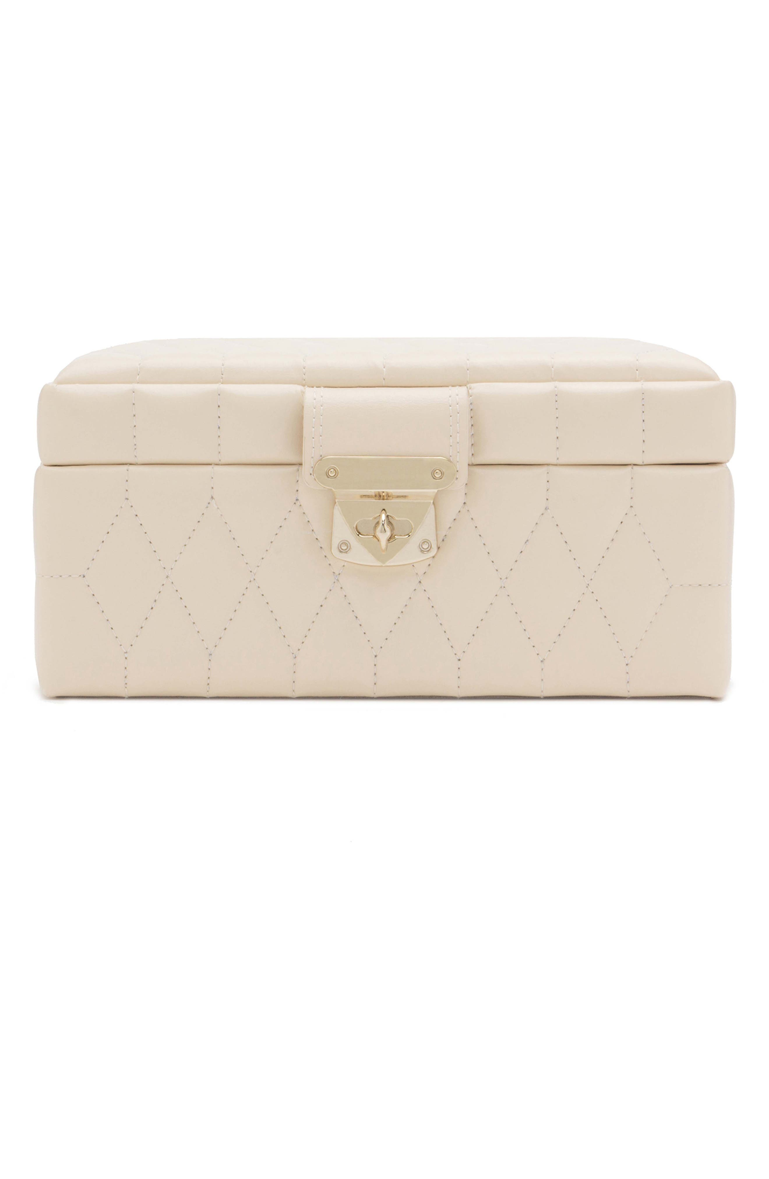 WOLF Caroline Small Travel Jewelry Case - White in Ivory